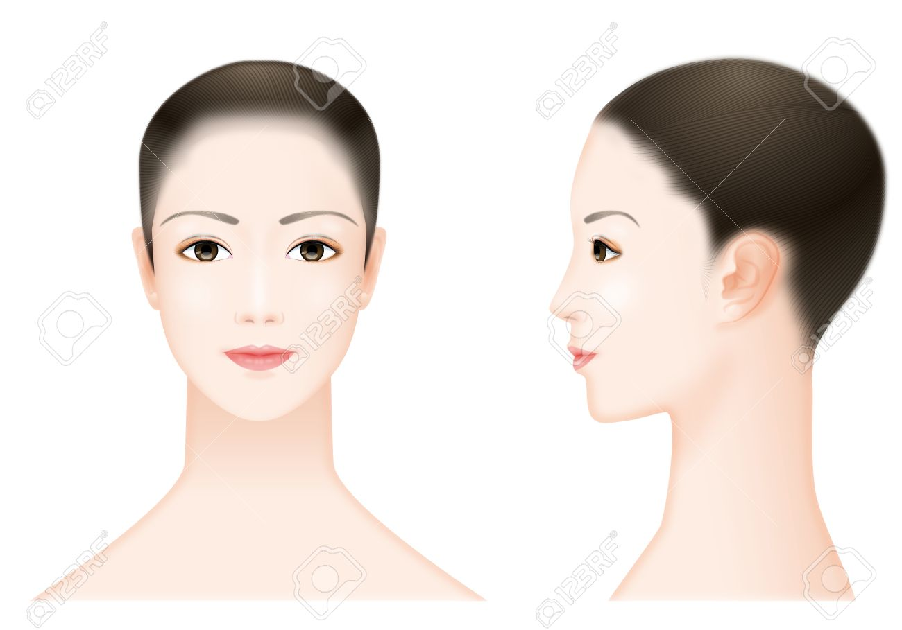 Front And Side Of The Face Of The Woman Stock Photo Picture And