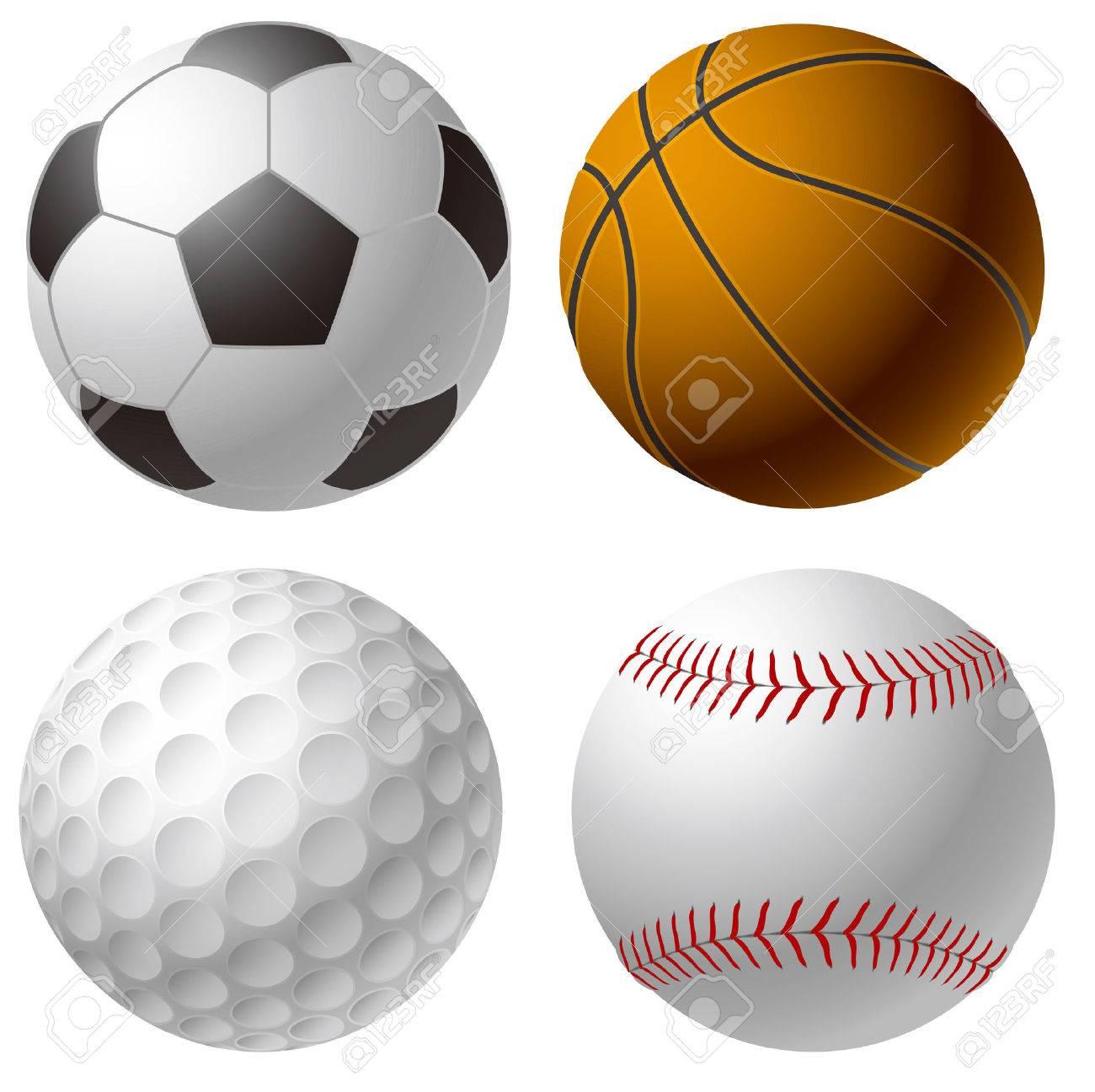 e3717f2c64c95 Foto de archivo - Se divierte bolas. El balón de fútbol. Baloncesto. Pelota  de golf. Bola del béisbol