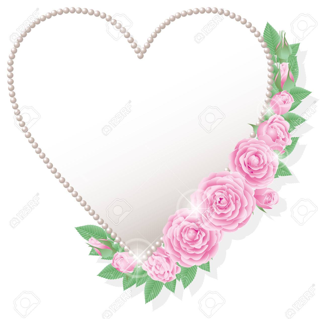 pink roses and heart shaped frame stock vector 37591465