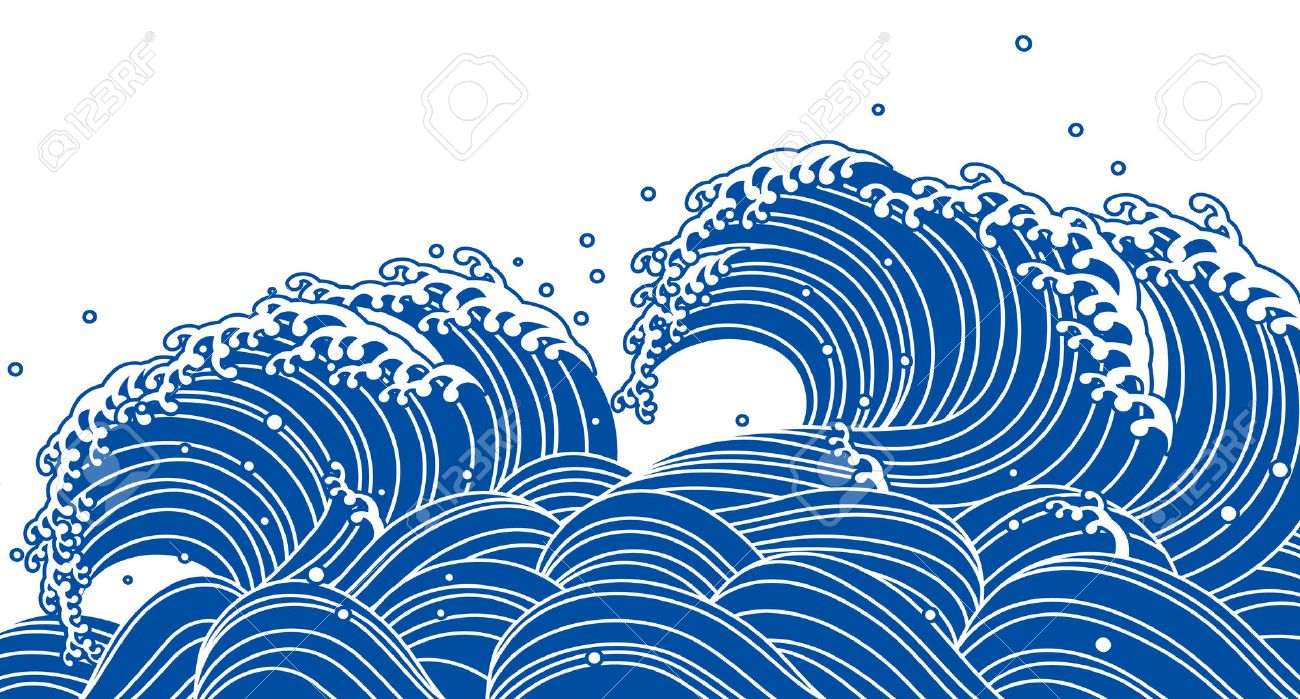 blue wave japanese style stock vector 46609637