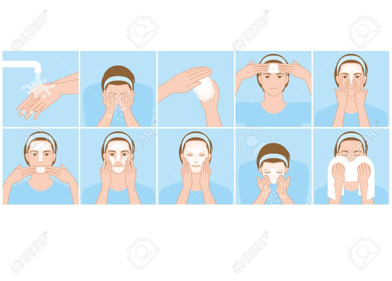 Men wash the face - 57643088