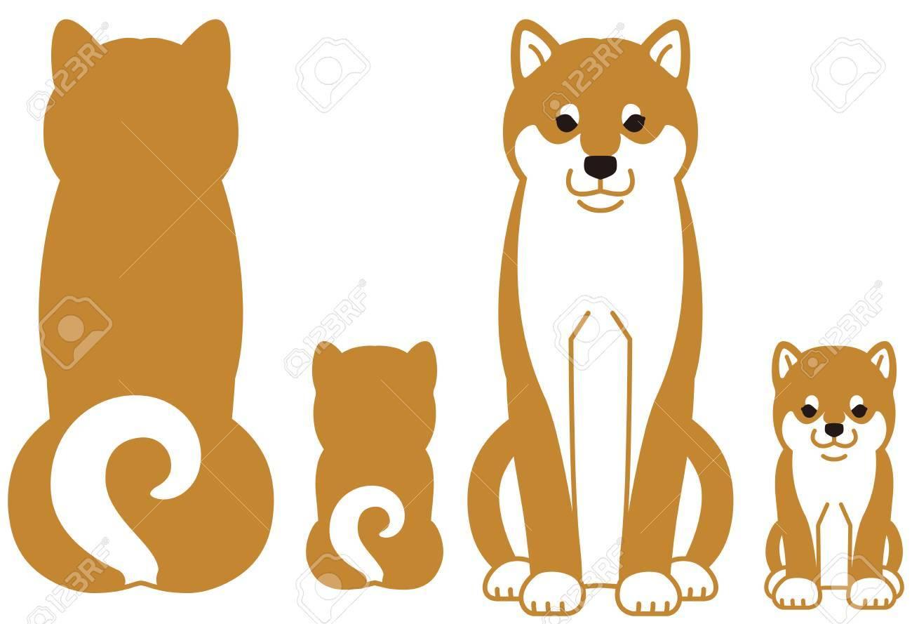 日本の犬柴犬の親子のイラスト素材ベクタ Image 87536414