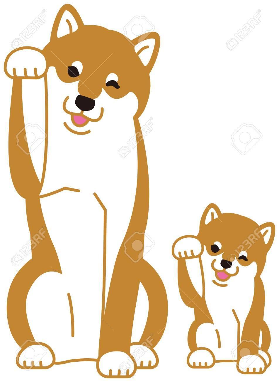 日本の犬柴犬の親子のイラスト素材ベクタ Image 87536416