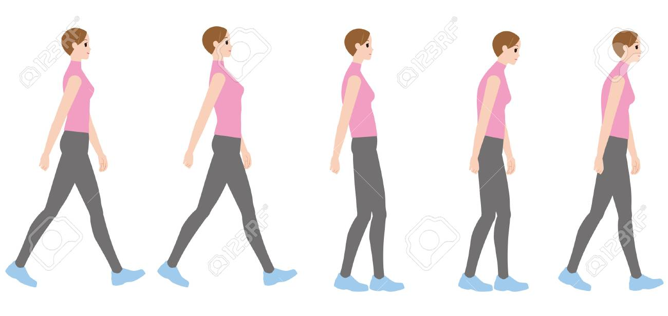 A woman walking in a good posture and a woman walking in a bad posture - 89834998