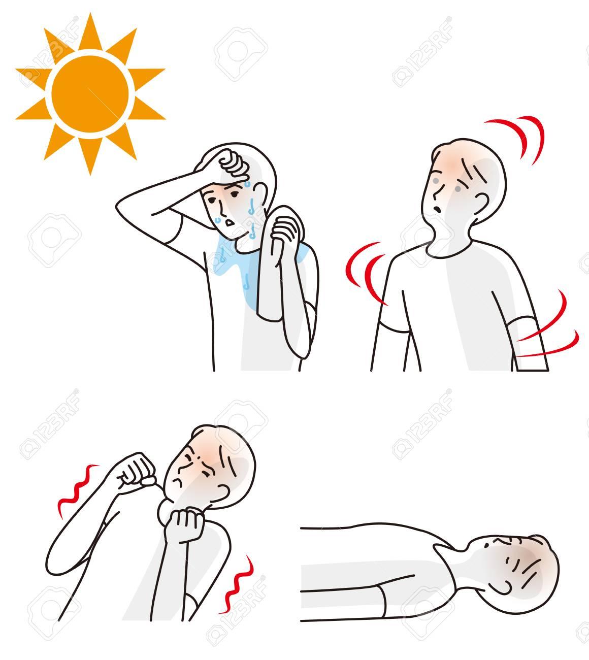 Symptoms of heat stroke illustration. - 100670590