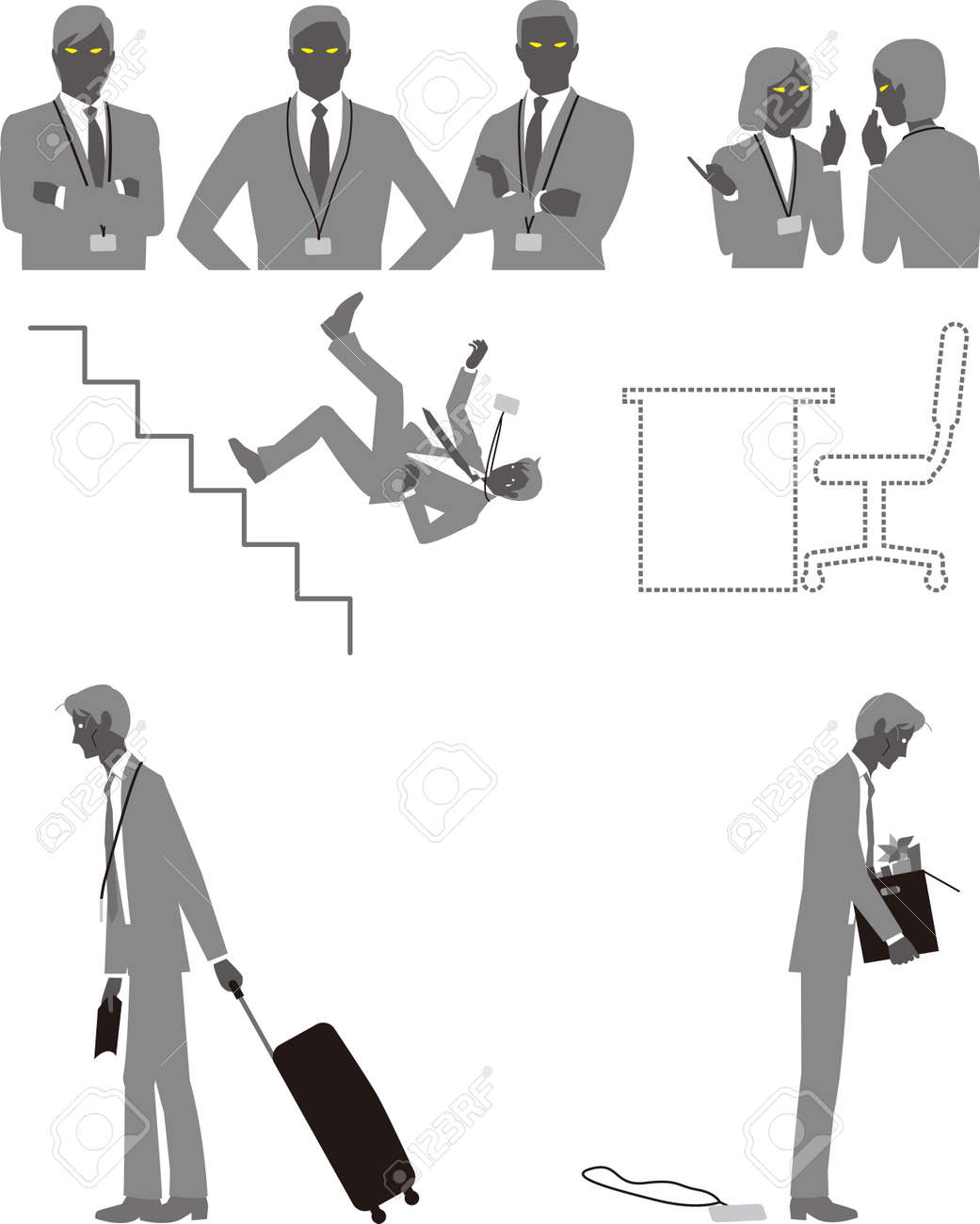 A businessman who is bullied, demoted, relegated, or dismissed at work - 160805778