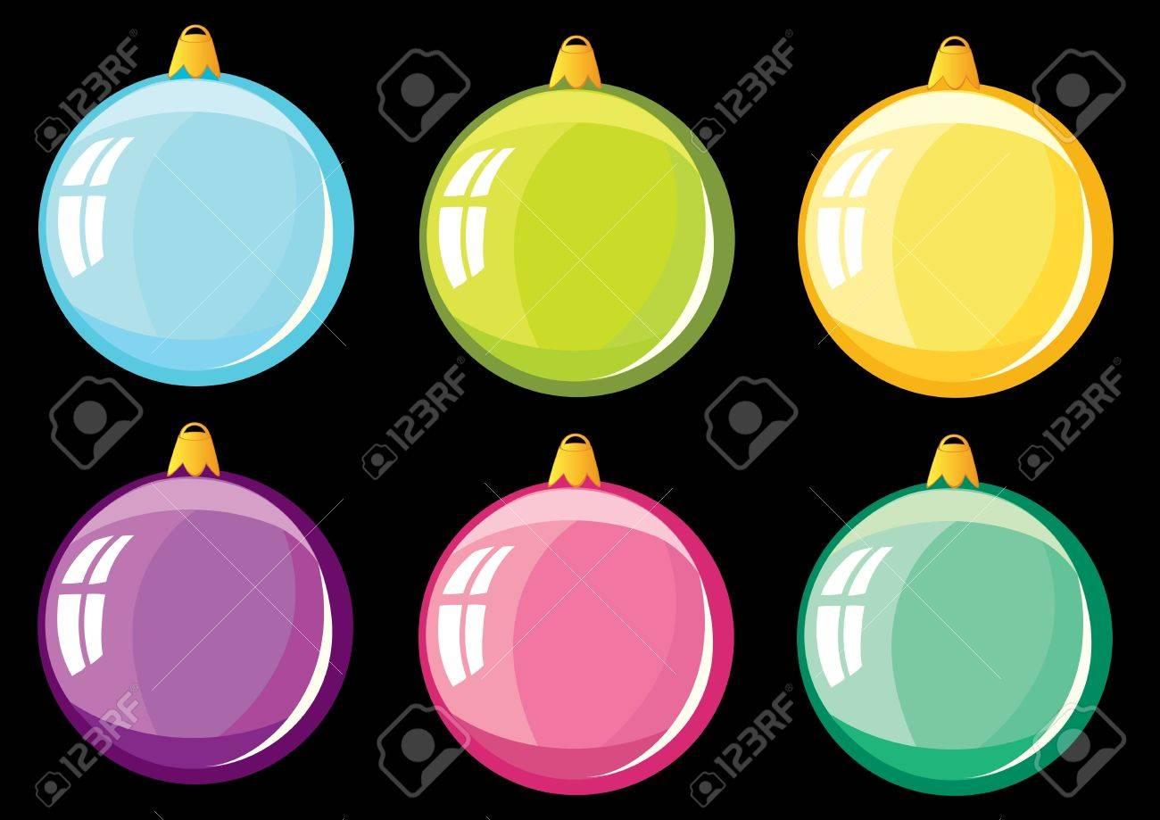 conjunto de esferas de colores sobre un fondo negro foto de