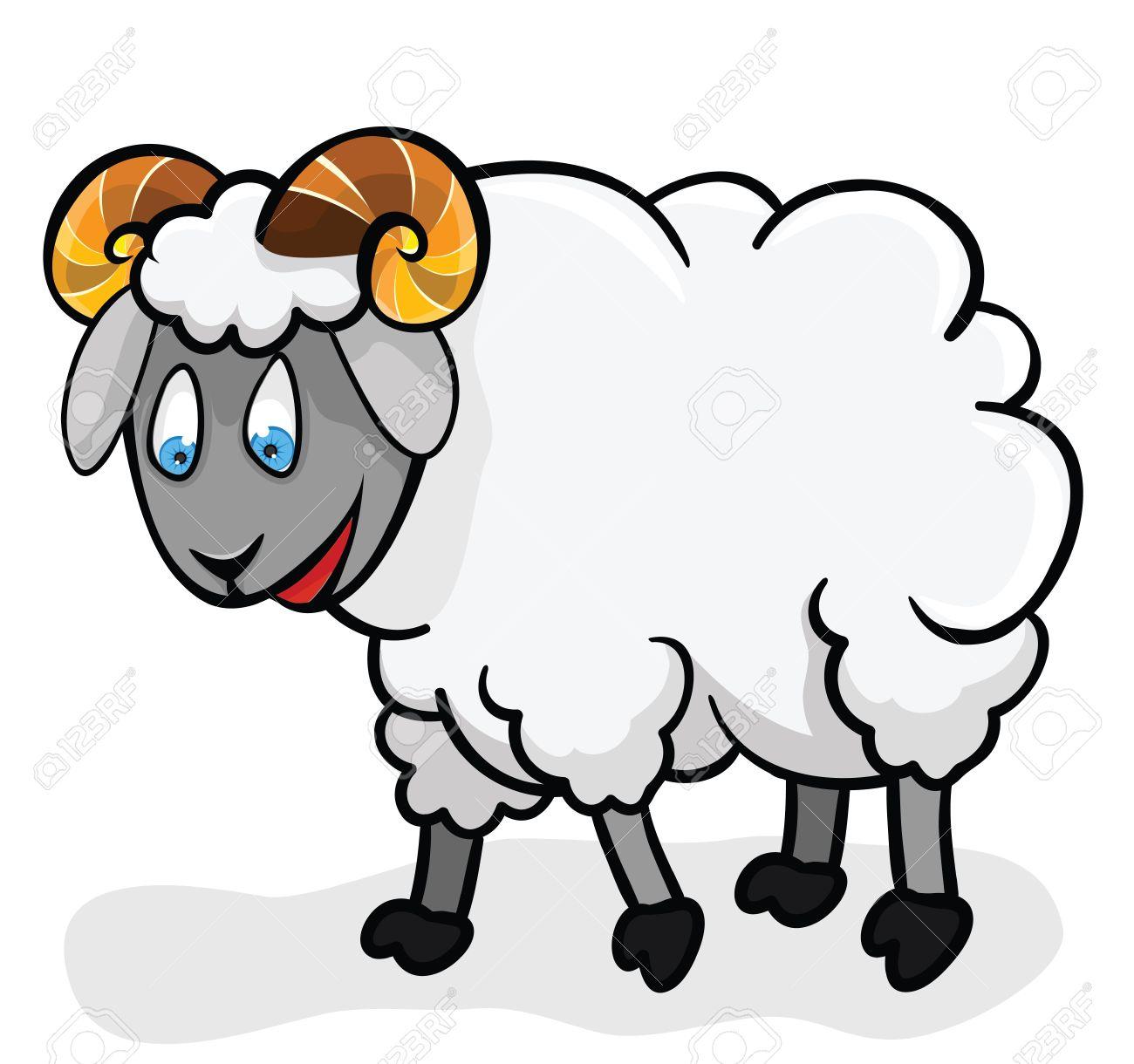 白地にかわいい羊イラスト漫画ラムのイラスト素材ベクタ Image