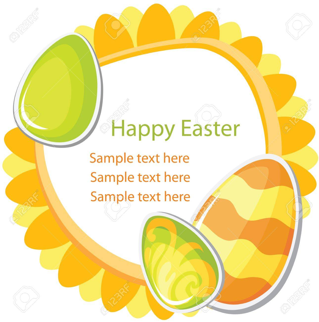 Easter card template on white background Stock Vector - 12495848