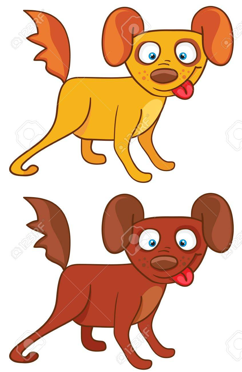 Dogs in cartoon style on a white background Stock Vector - 14117427