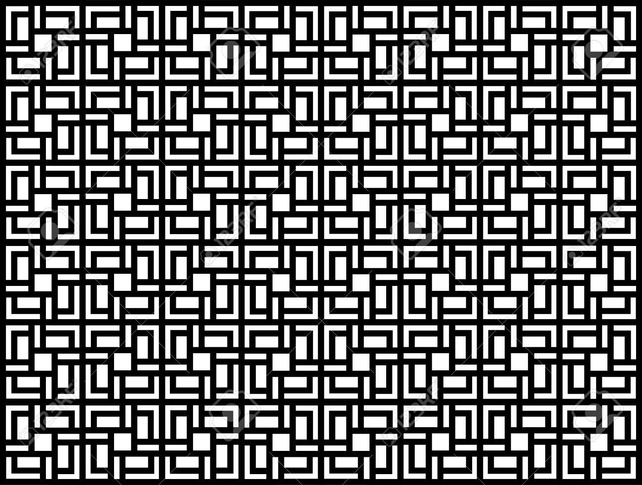 Seamless geometric pattern in op art design  Black and white vector illustration  Square Stock Vector - 14544673