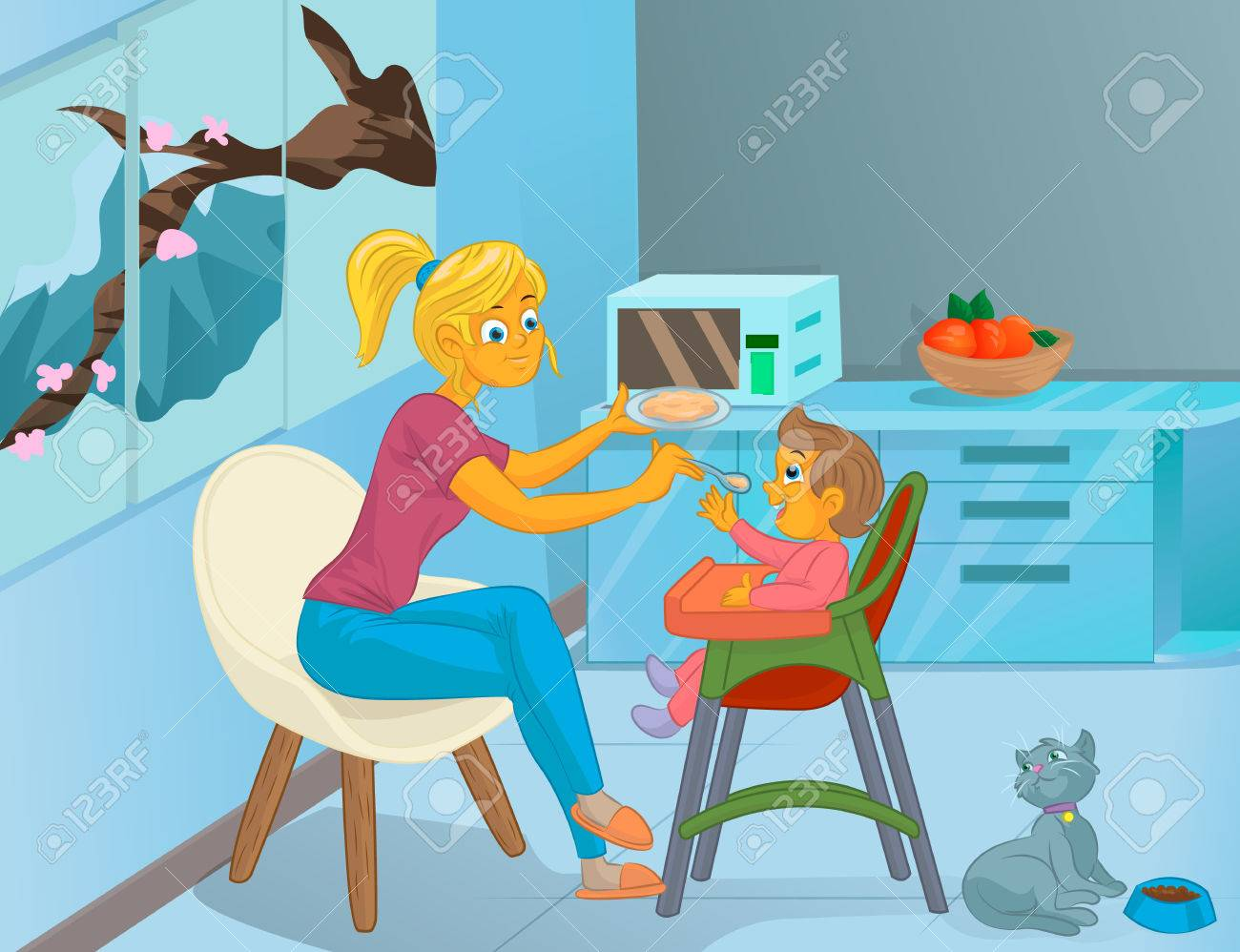 Nanny In The Kitchen Is Feeding The Child Royalty Free Cliparts ...
