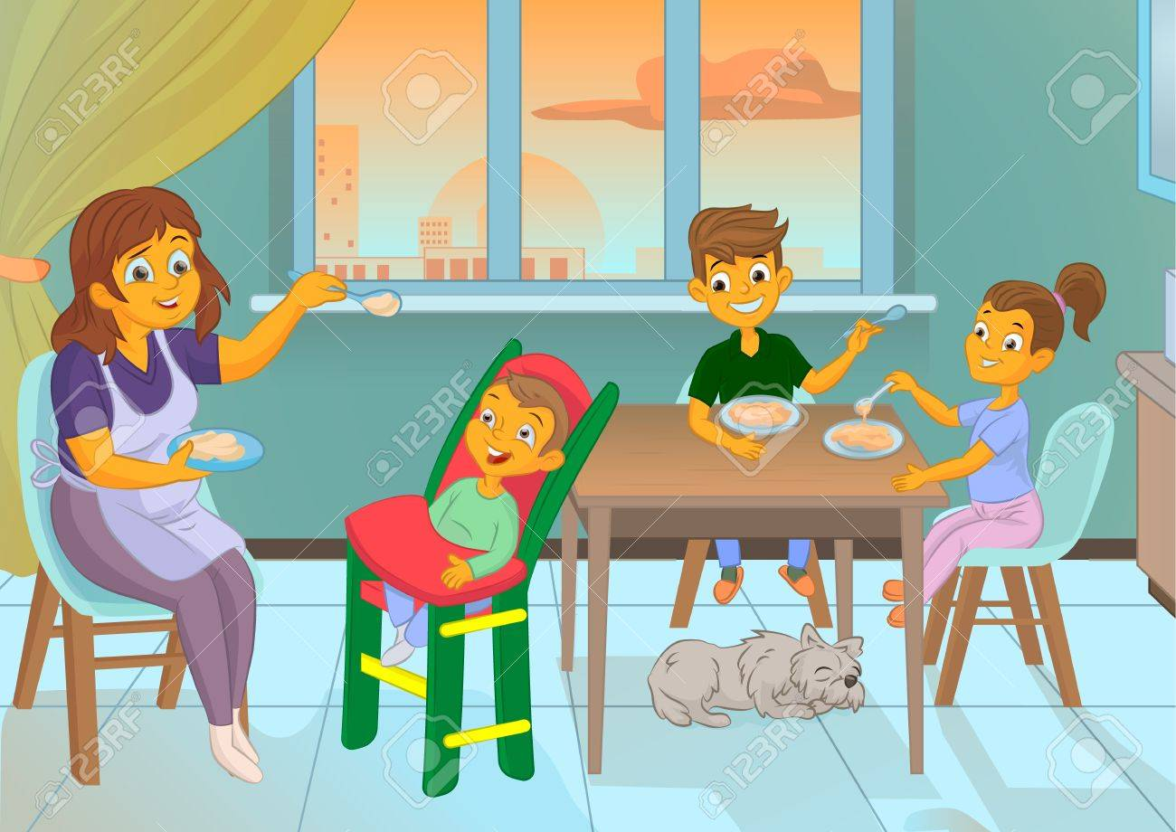 Nanny In The Kitchen Is Feeding The Child And Family Cartooon ...