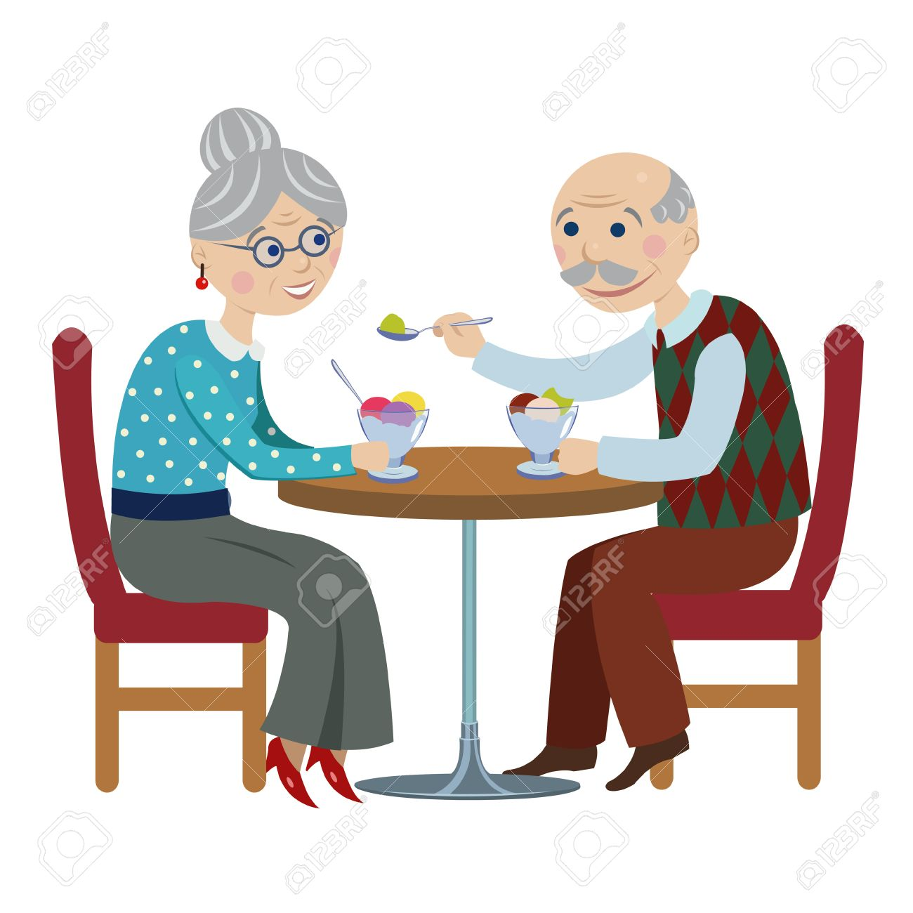 happy cartoon grandparents.An elderly couple are sitting in cafe and eating ice cream. - 57006778