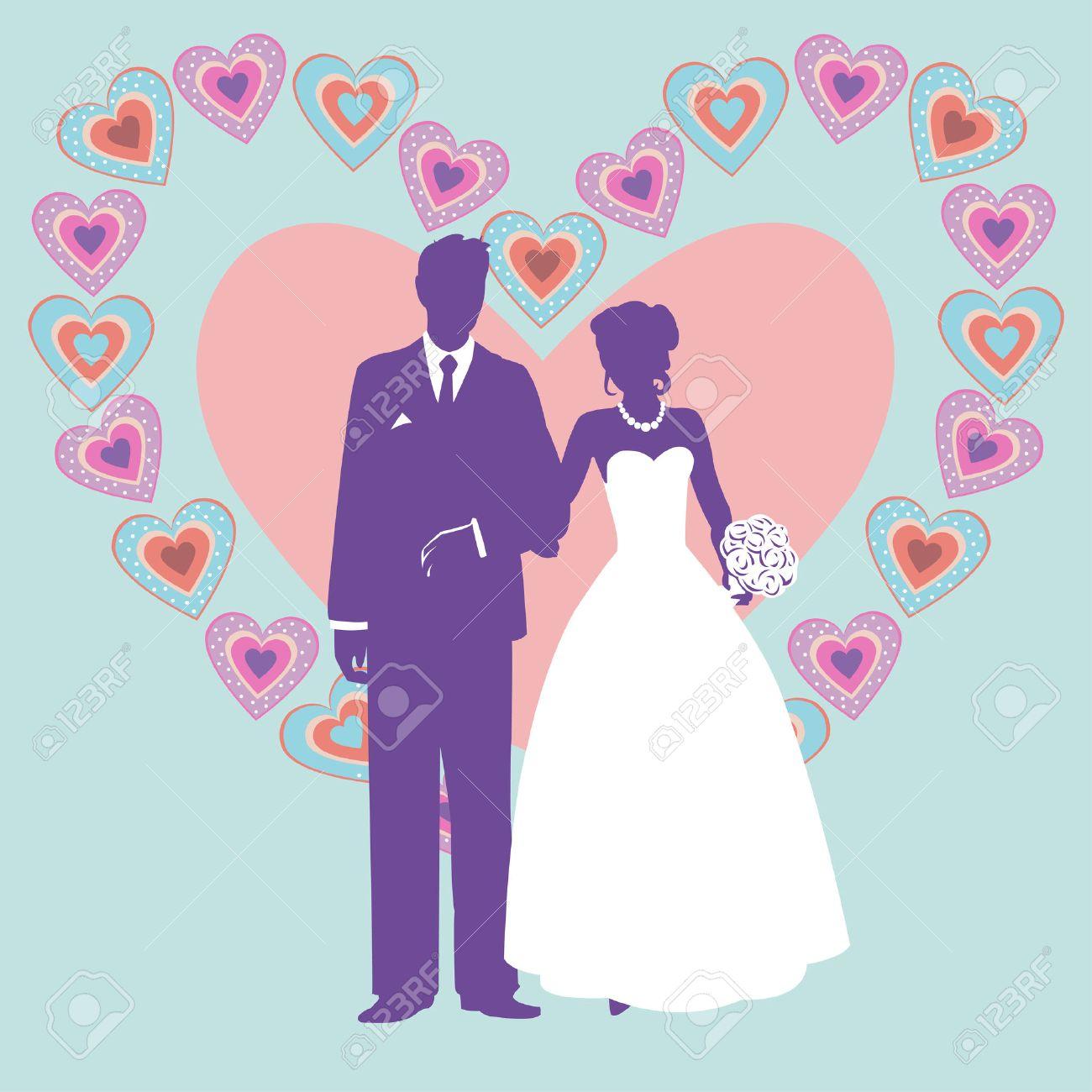 Silhouette Der Hochzeit Couple Silhouette Von Brautpaar Auf Dem
