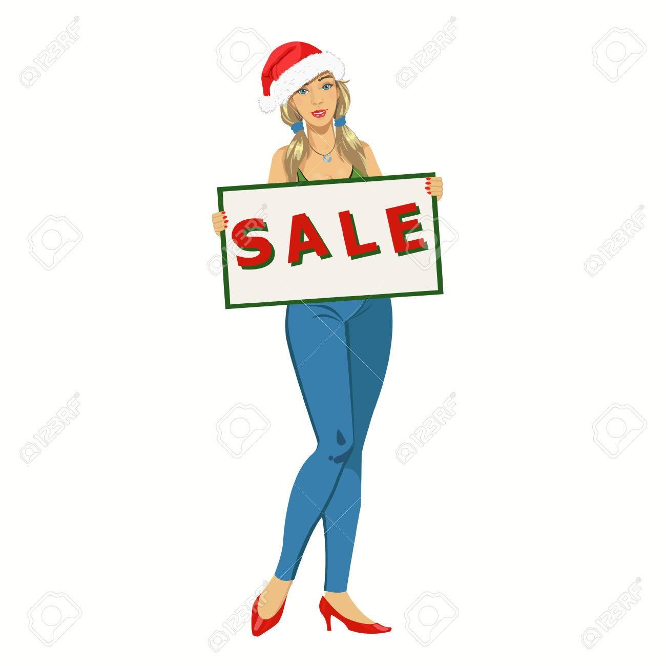 Mädchen Mit Einem Leeren Plakat .girl In Der Weihnachtsmütze Eine ...