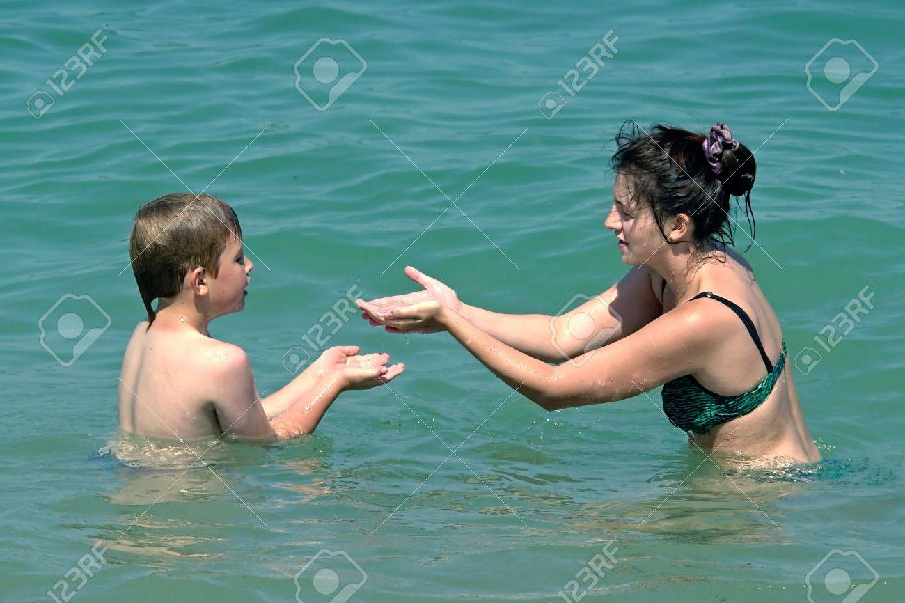 Mom and son swimming in the sea Stock Photo - 960323