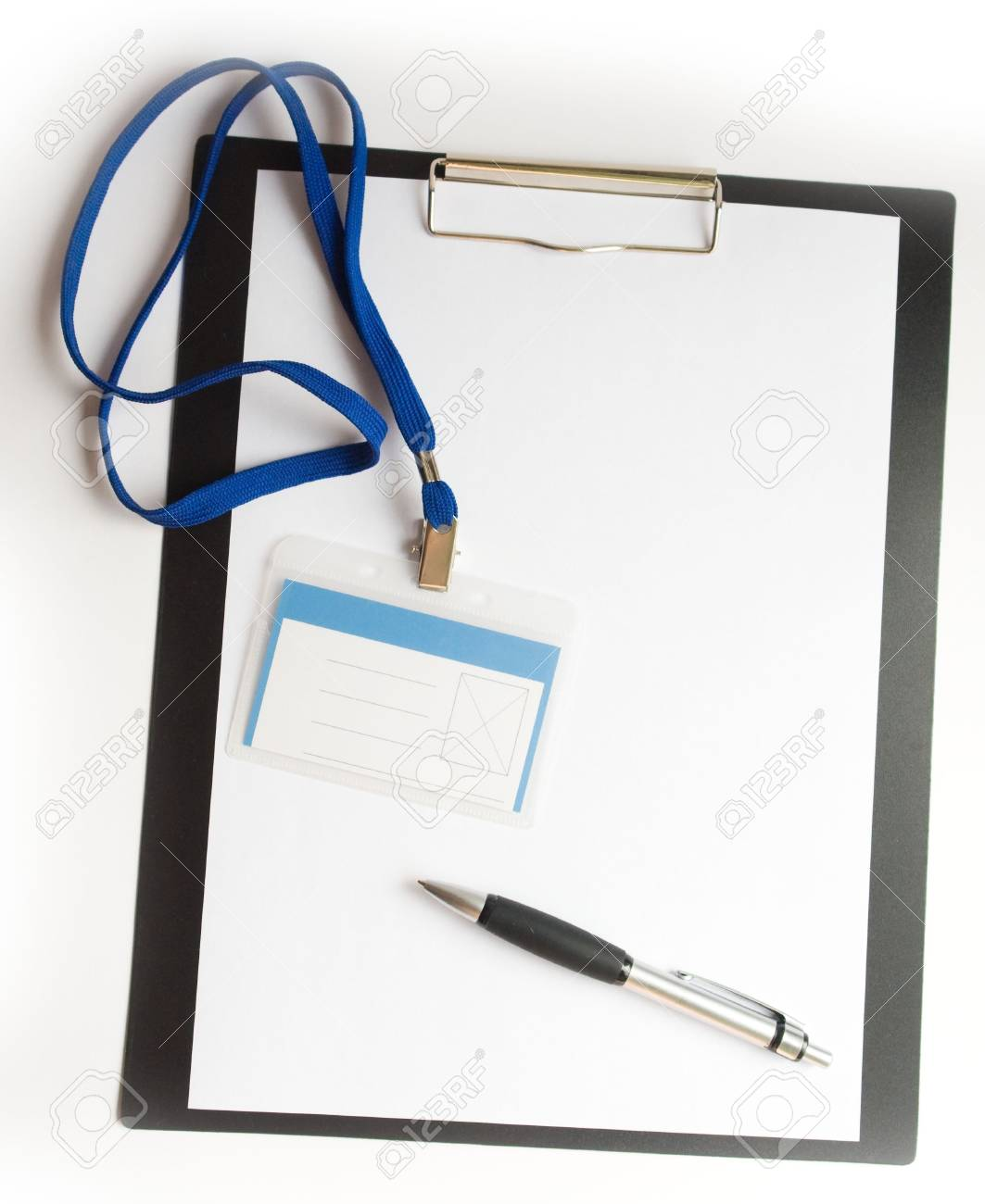 A piece of blank paper with badge and pen on clipboard Stock Photo - 1357542