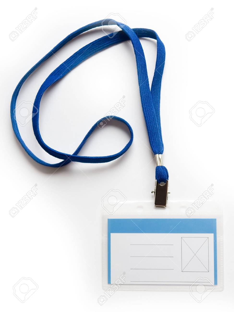 blank id card badge with copy space on a white background stock