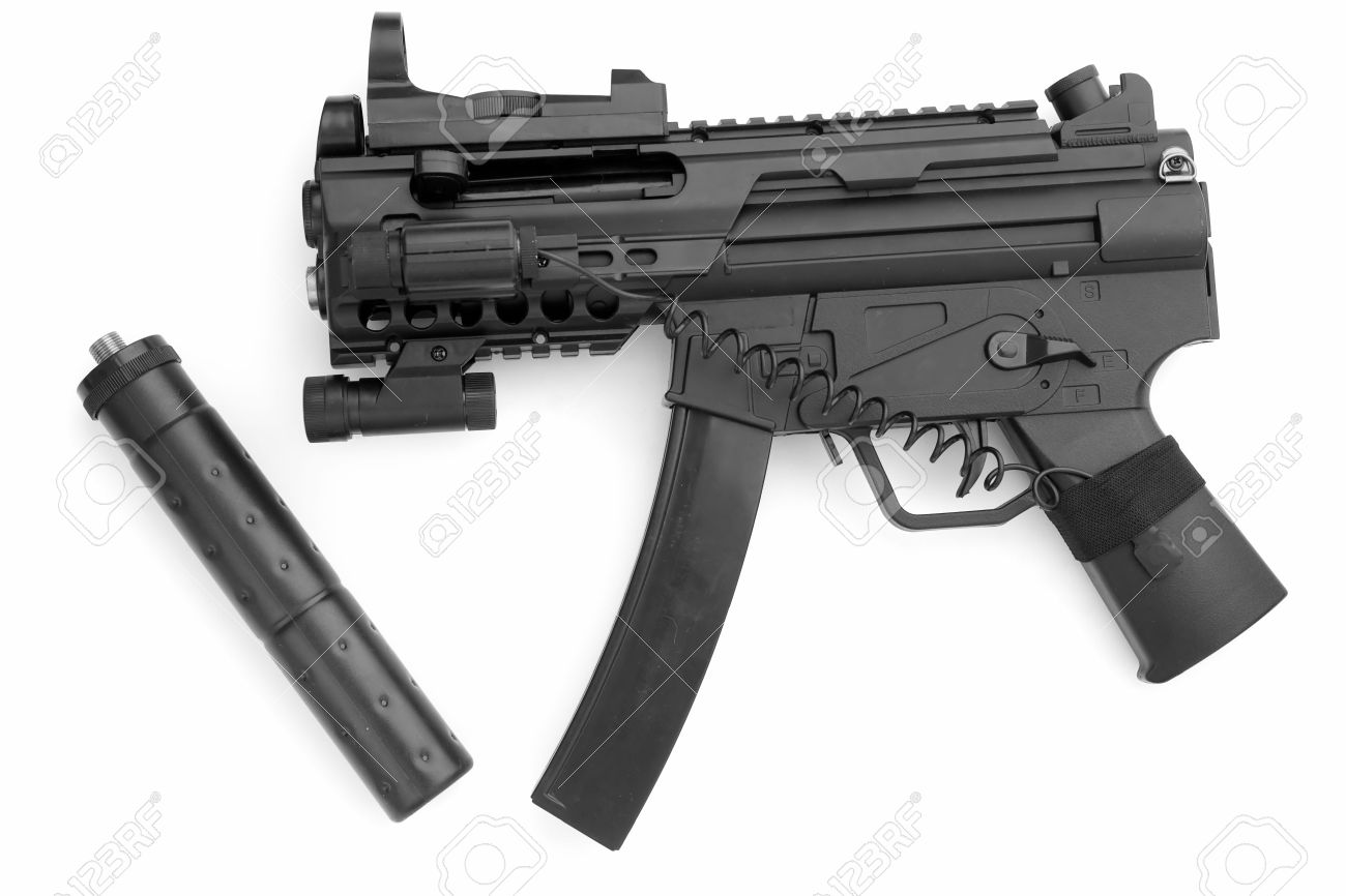 tommy gun  submachine gun with a silencer on a white background