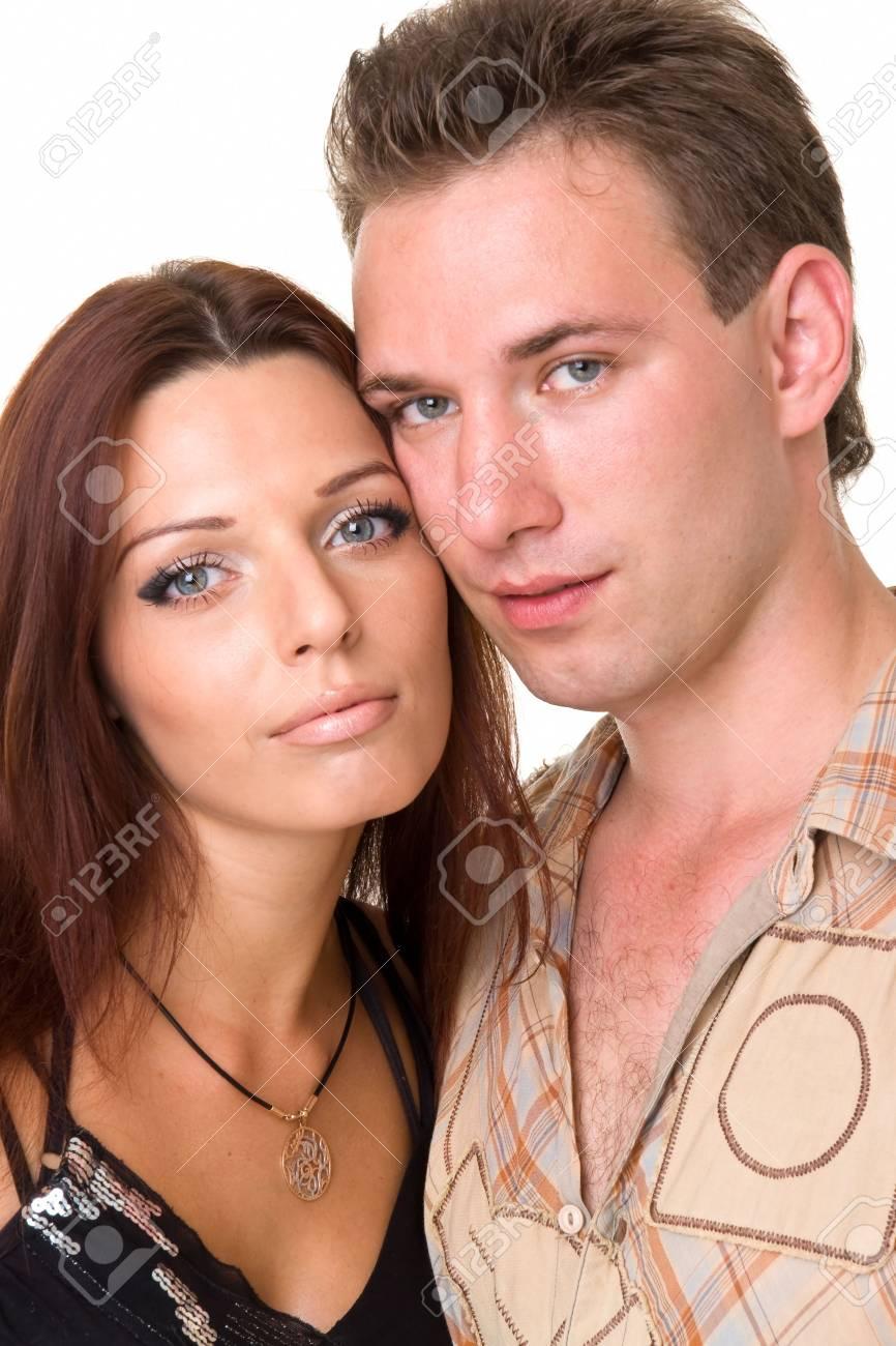 Loving couple close up on a white background Stock Photo - 3450130