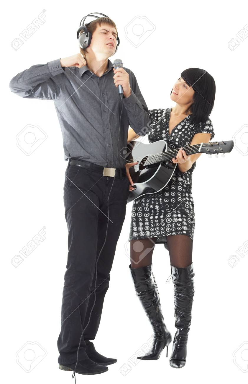song. Happy loving couple on a white background Stock Photo - 3693588