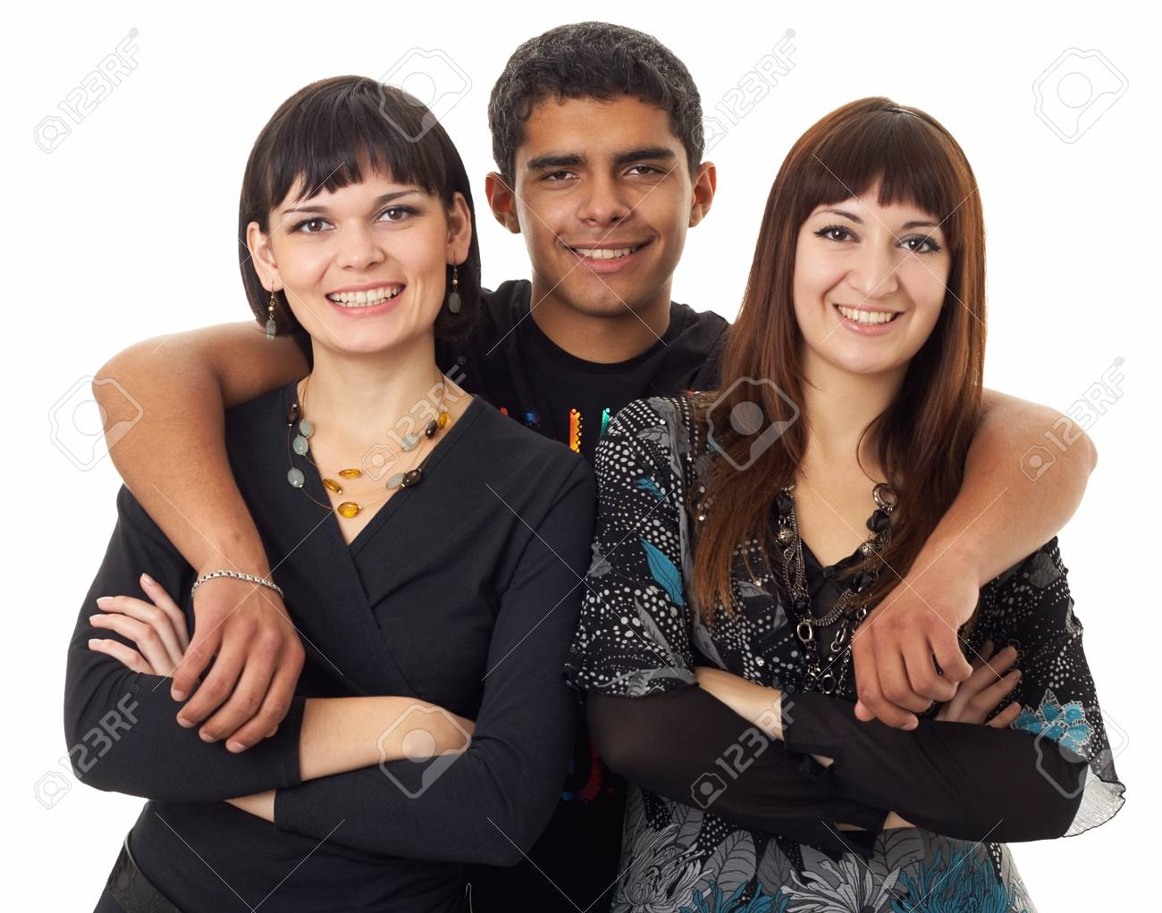 Portrait of three happy friends isolated on white background Stock Photo - 4074527