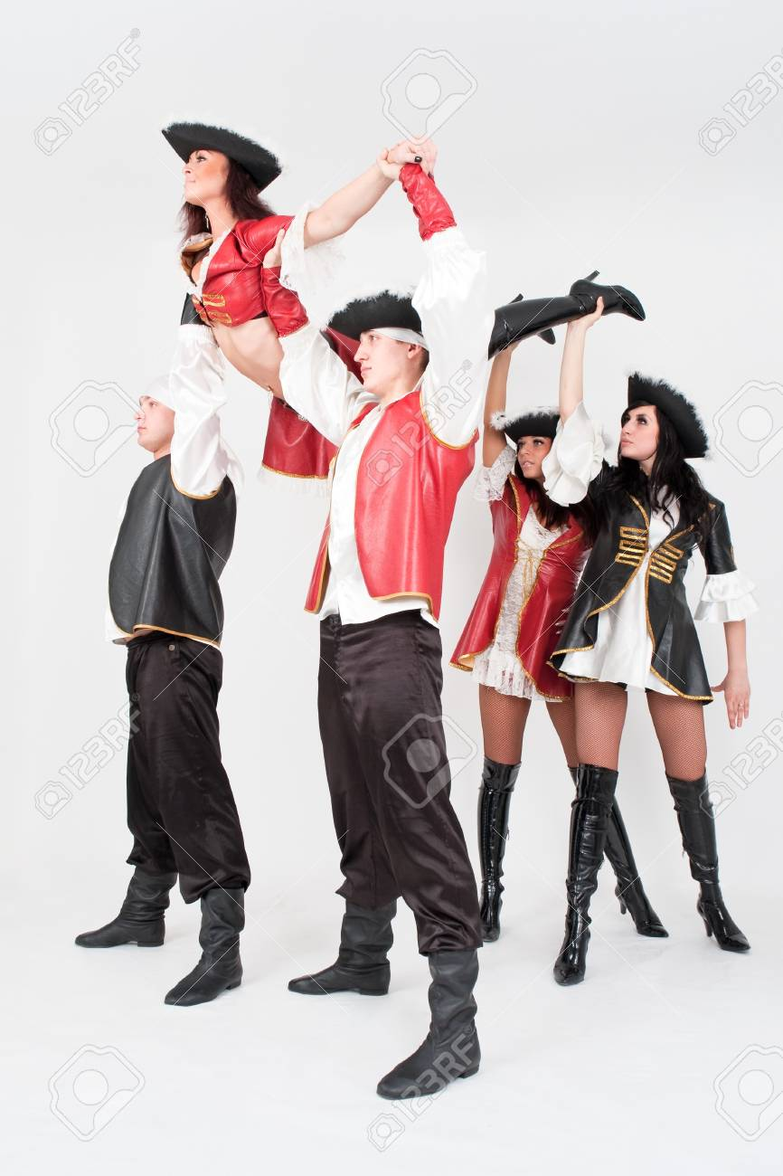 Young dancers in pirate costumes on a gray background Stock Photo - 4542949