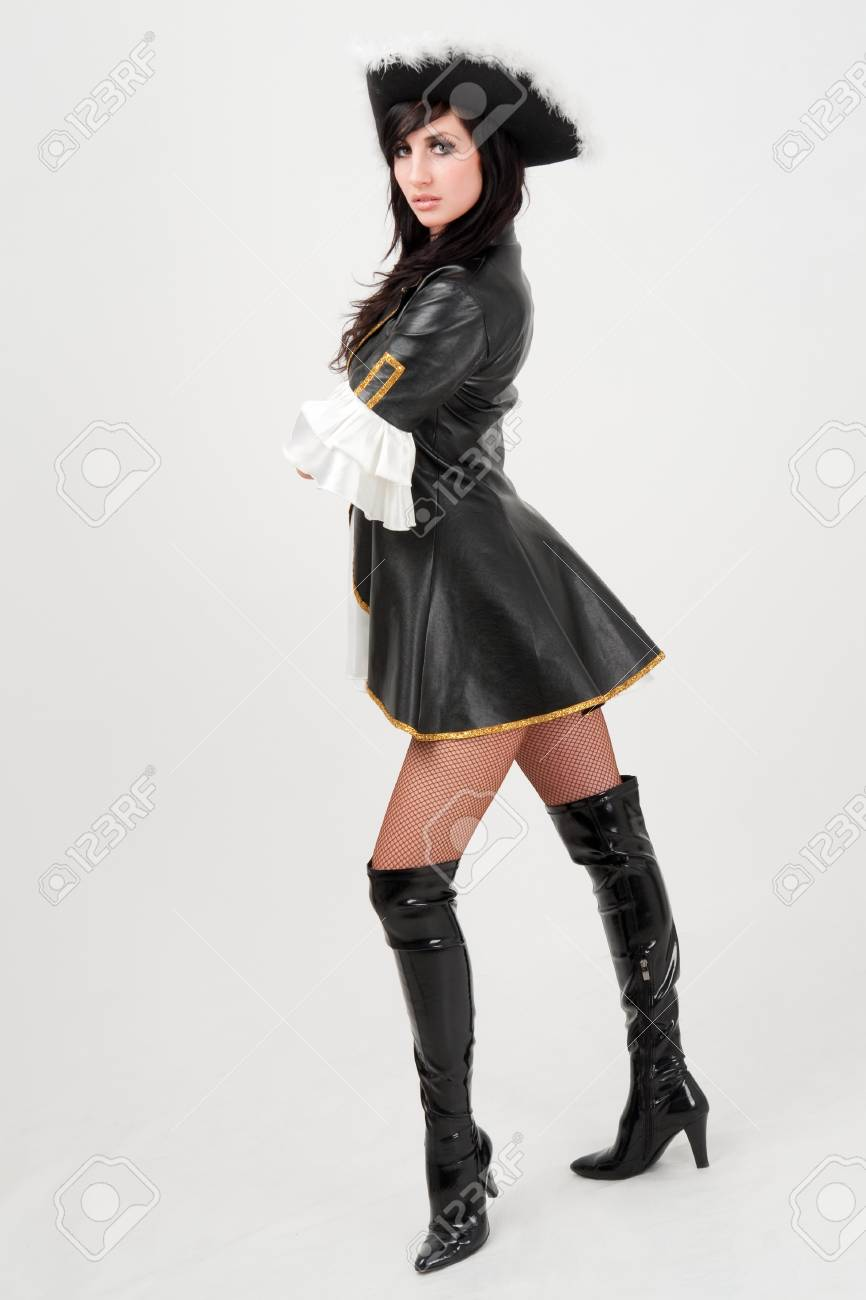 Attractive girl in a pirate costume and hat Stock Photo - 4542946