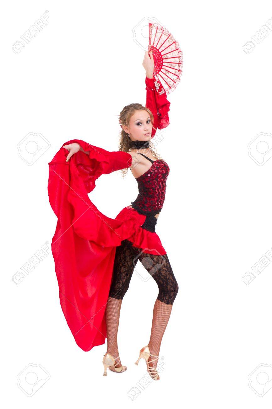 gypsy woman dancing with fan against isolated white background Stock Photo - 10070112