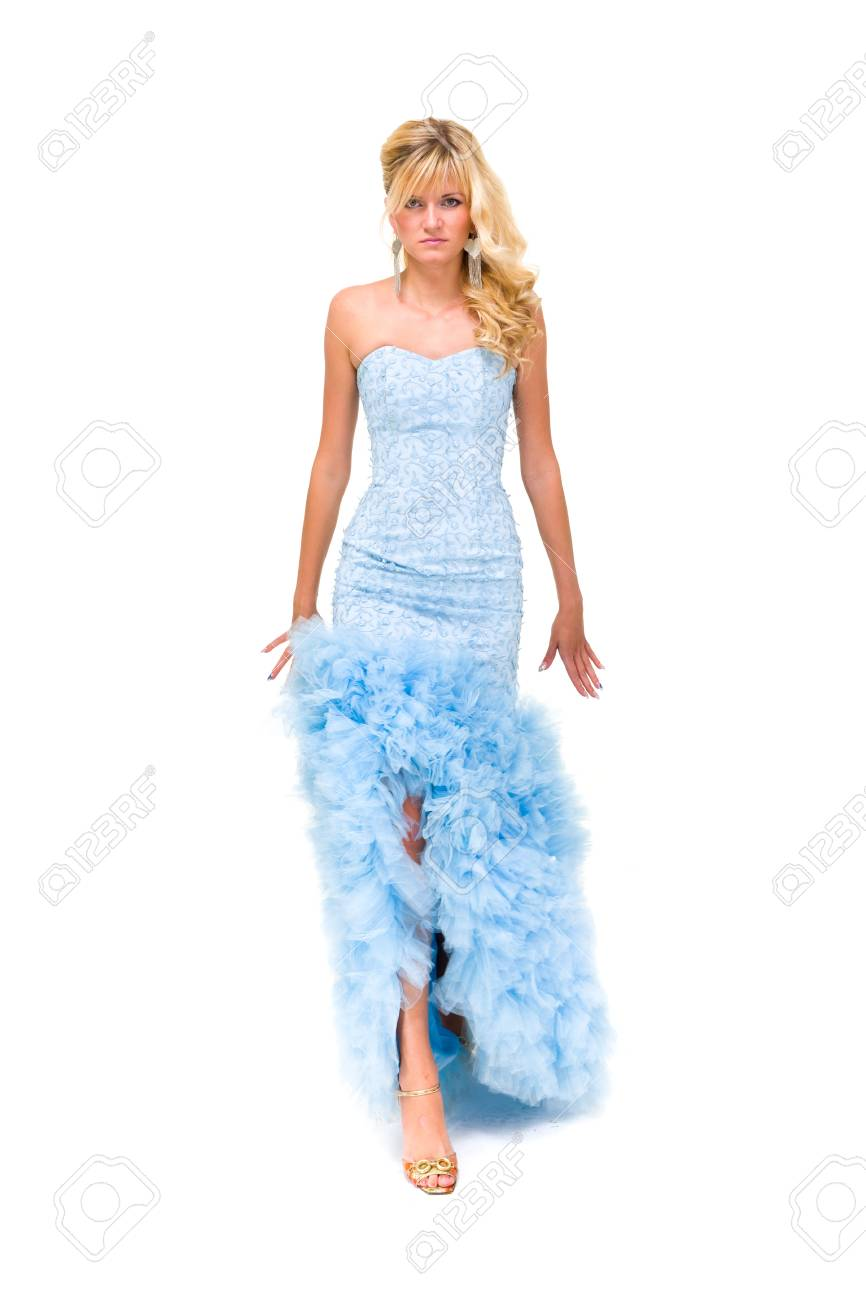 Portrait of young woman in blue dress against white background Stock Photo - 15966093