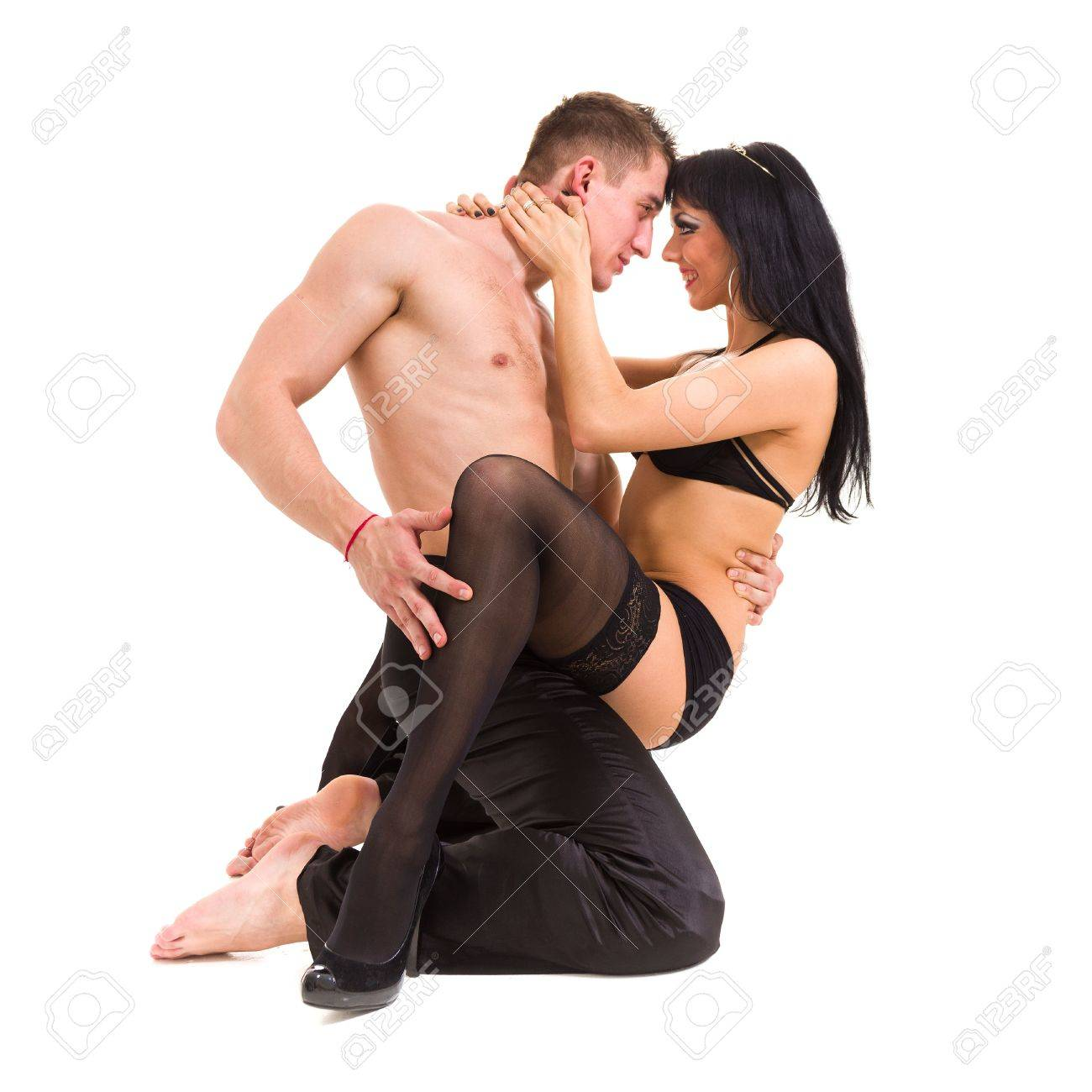 Young sexy couple isolated on white background Stock Photo - 16380355