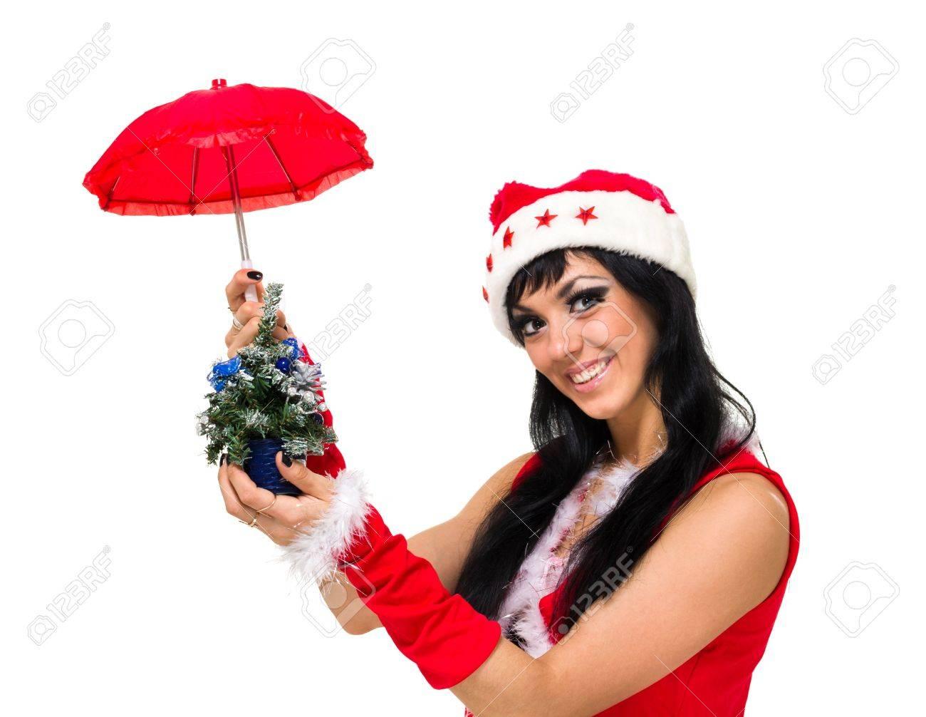 Meisje Dragen Van Santa Claus Kleding Met Een Paraplu En Kerstboom