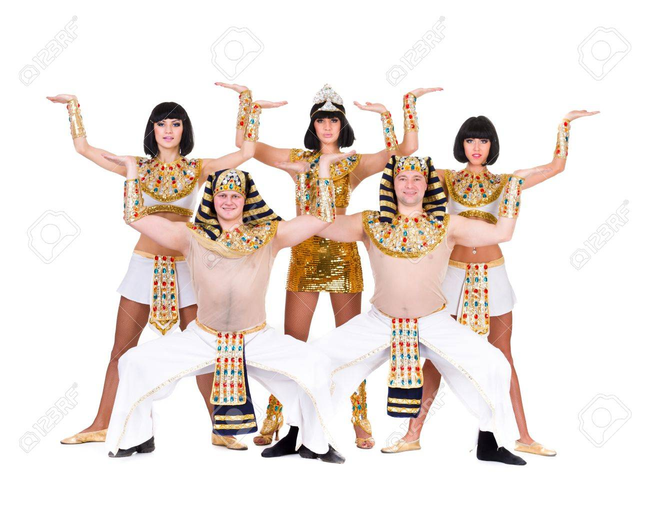 Dance Team Dressed In Egyptian Costumes Posing Isolated On.. Stock ...