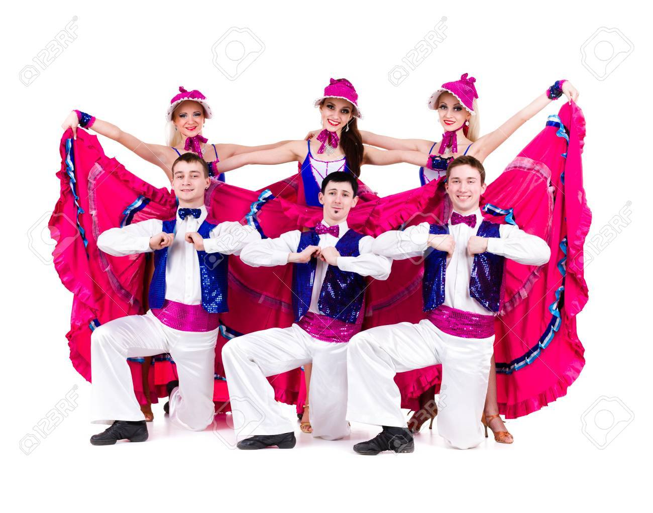 cabaret dancer team dancing   Isolated on white background in full length Stock Photo - 18657183