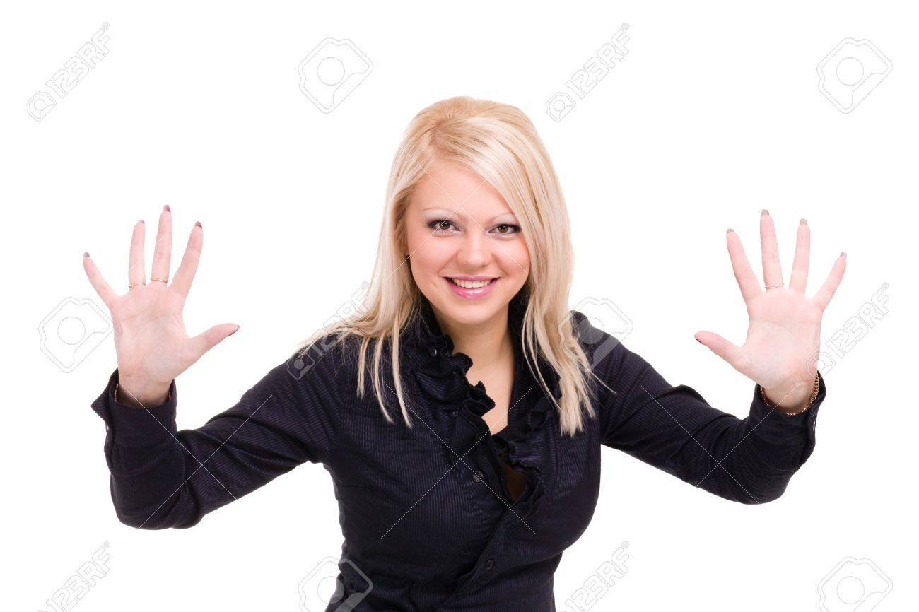 Smiling young woman  is holding something abstract  Happy girl with raised hands  Isolated on white background Stock Photo - 18914248