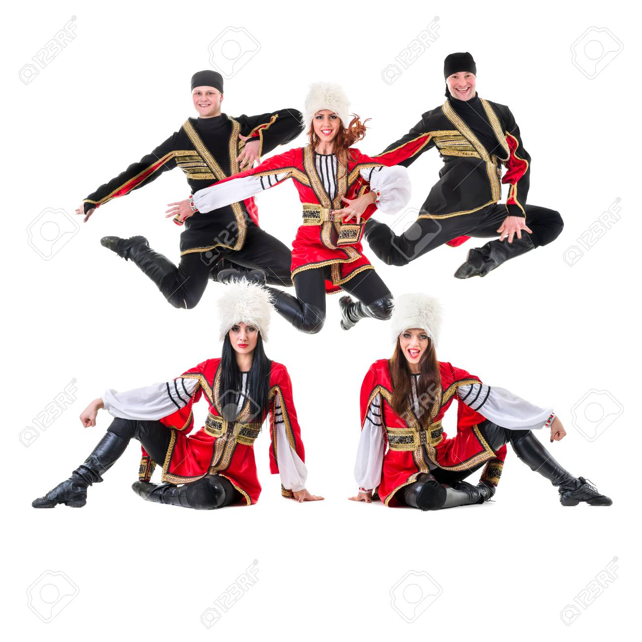 a001a9e6c Dancer team wearing a folk Caucasian highlander costumes dancing. Isolated  on white background in full