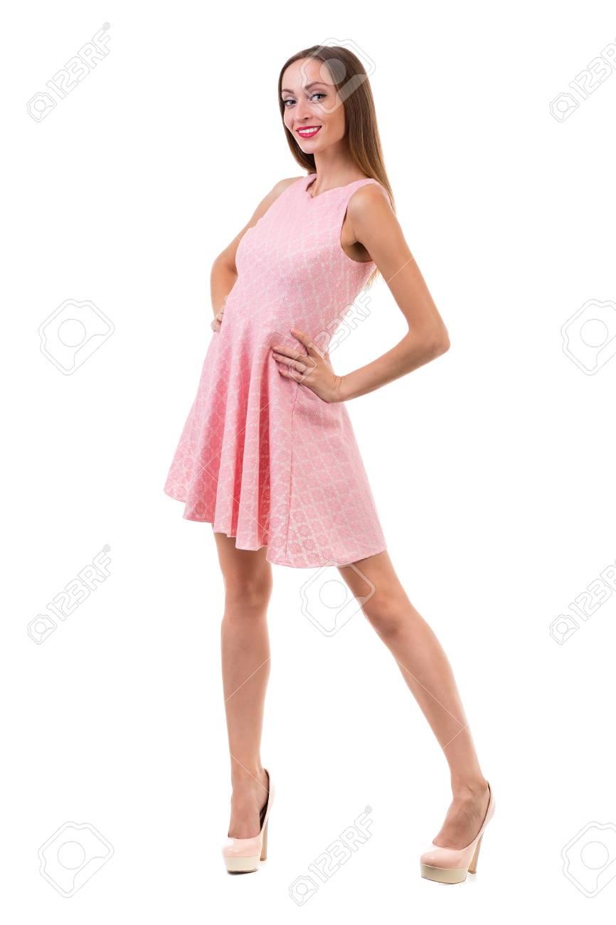 Integral De La Mujer Sensual En El Baile Vestido Corto Sobre Fondo ...