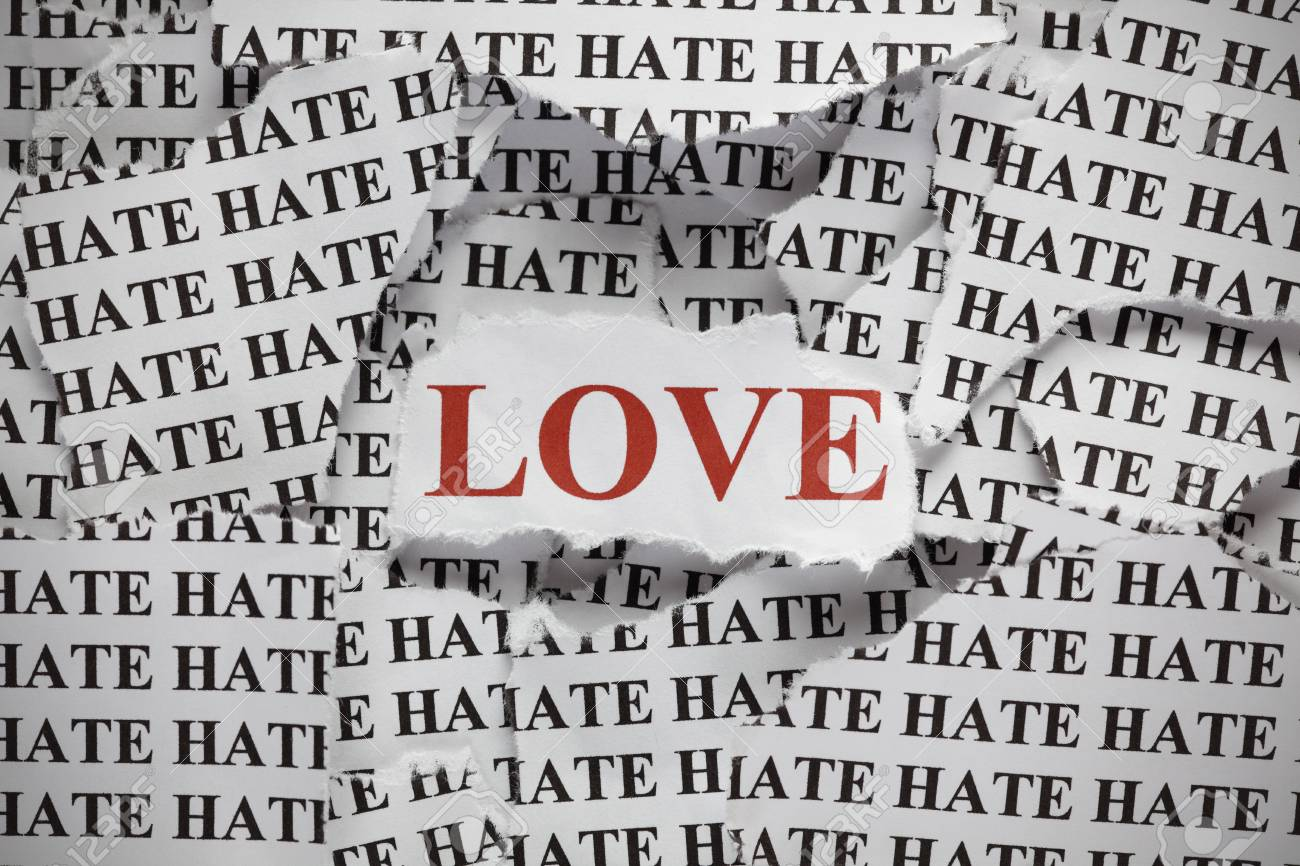 Stock Photo Torn Pieces Of Paper With The Word And Word Love In Red Color Concept Image Close Up