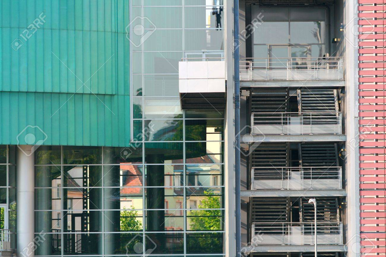 fire escape with green and glass wall Stock Photo - 17605208