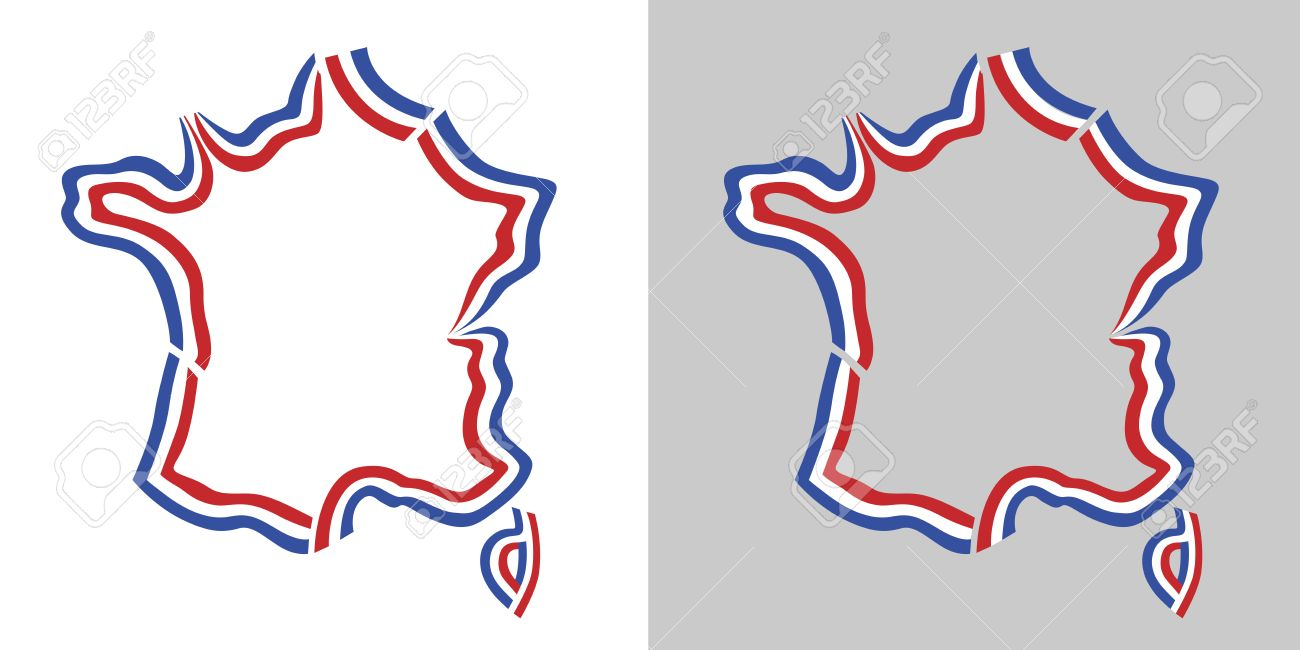 Outline Of Map Of France.France Outline Map French Flag Colors Royalty Free Cliparts