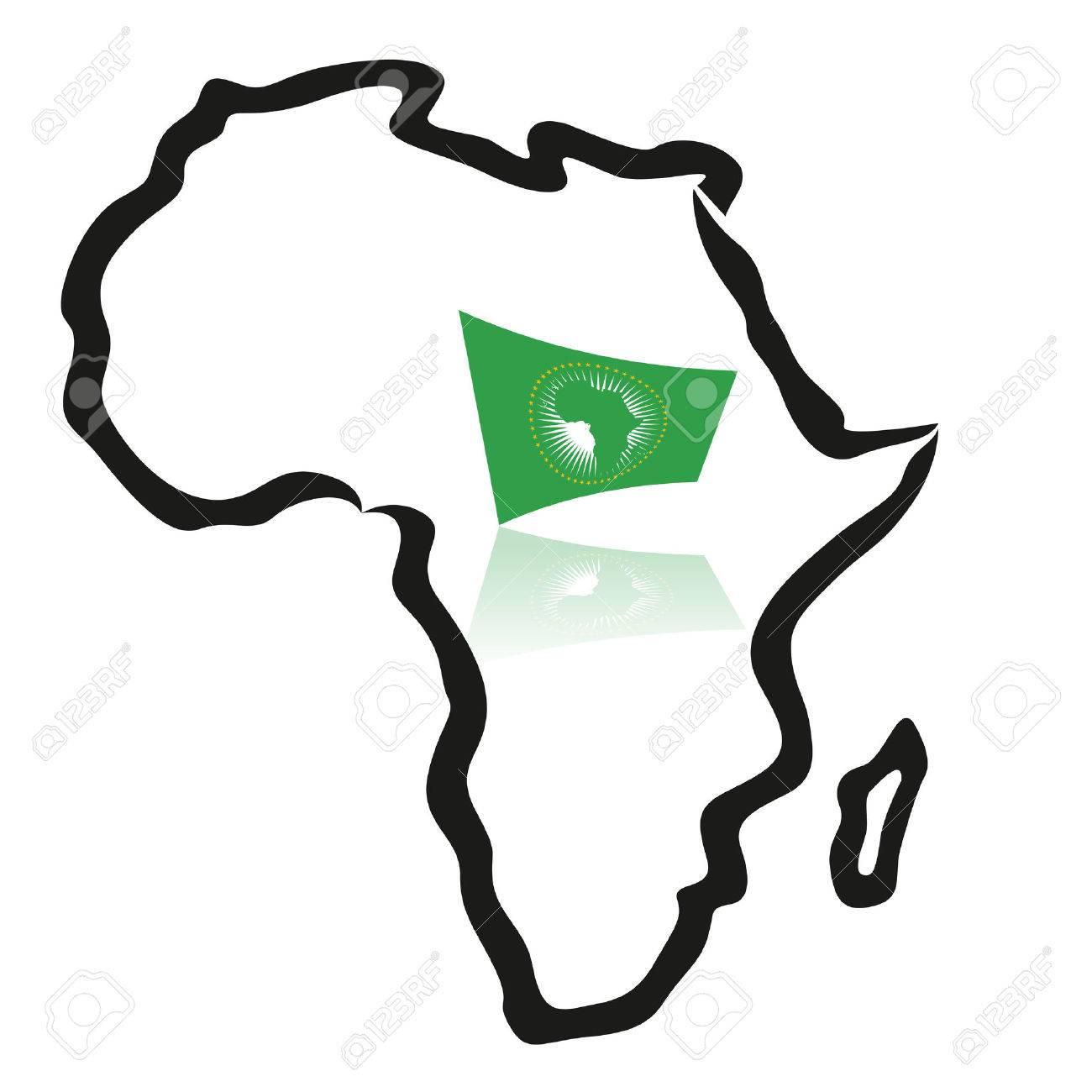 Carte Union Africaine.Carte De L Afrique Presente Avec Le Drapeau De L Union Africaine
