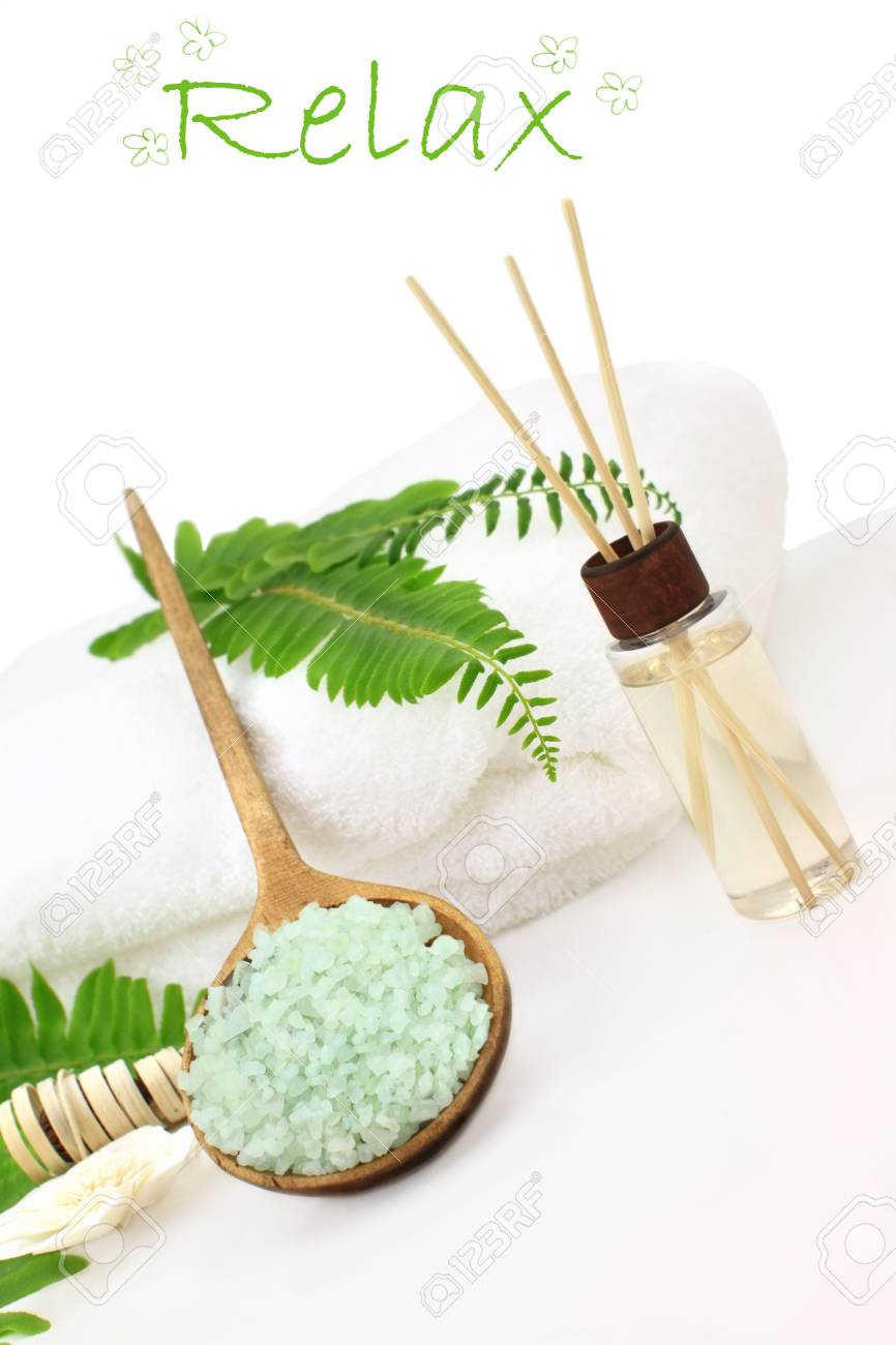 Green Bath Salts In A Wooden Spoon With Essential Oils And White ...