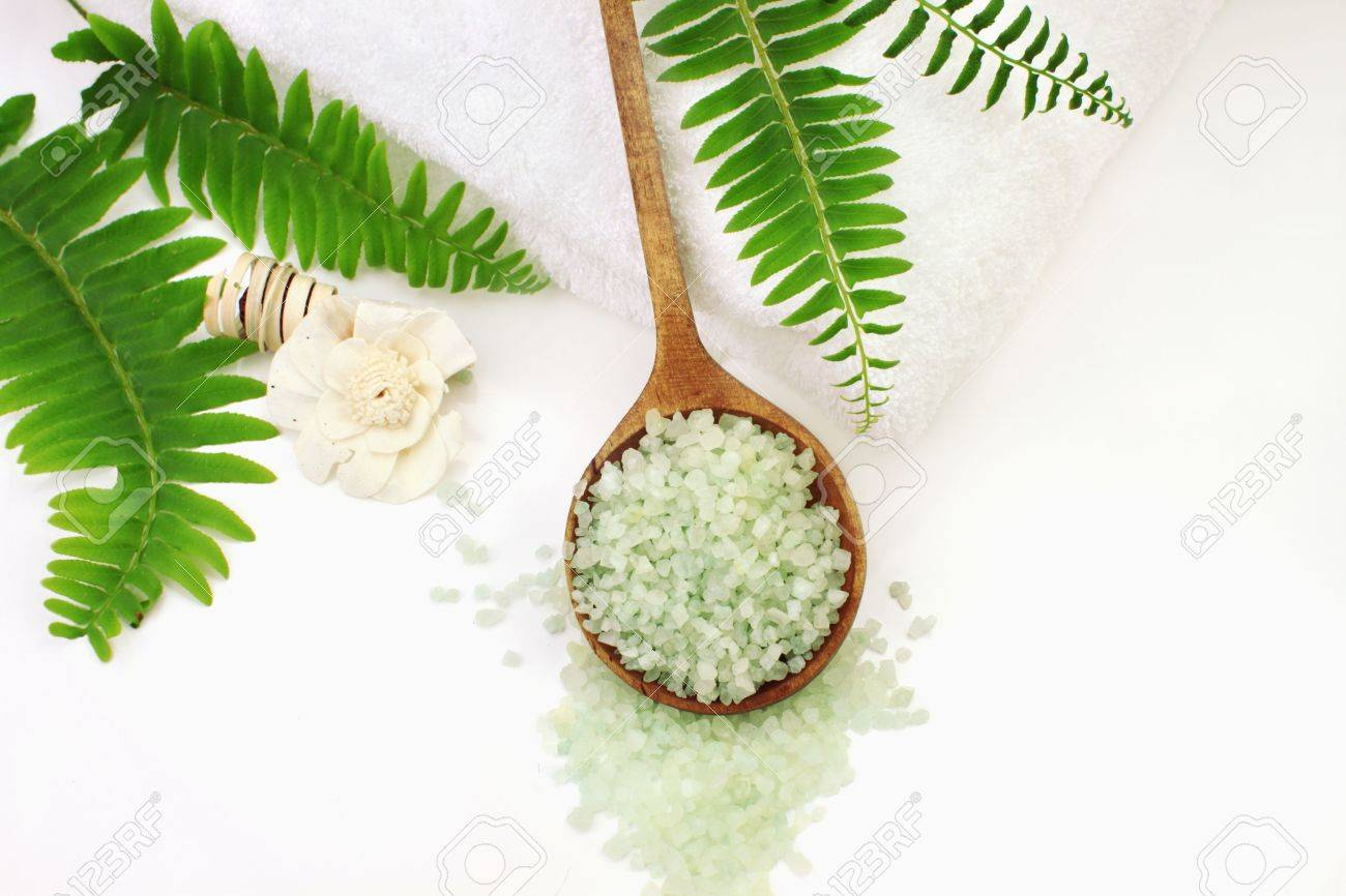 A Wooden Spoon Filled With Green Bath Salts. Shallow DOF With ...