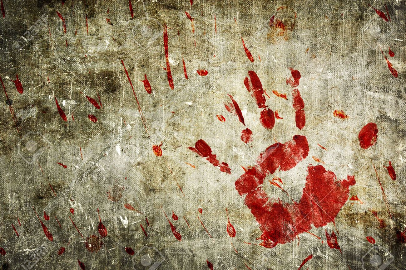 Bloody Hand Print And Blood Splatter On A Grungy Wall Stock Photo