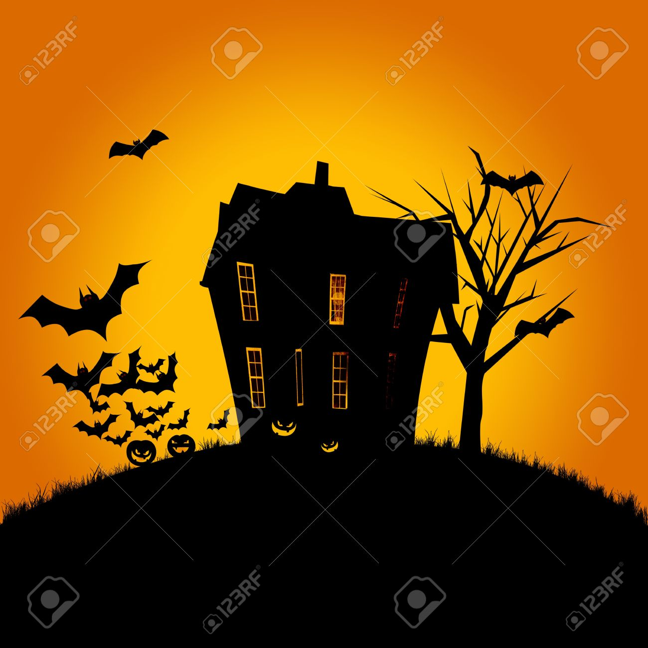 Halloween poster of a haunted house, pumpkins and flying bats. Room for text. Stock Photo - 10679421