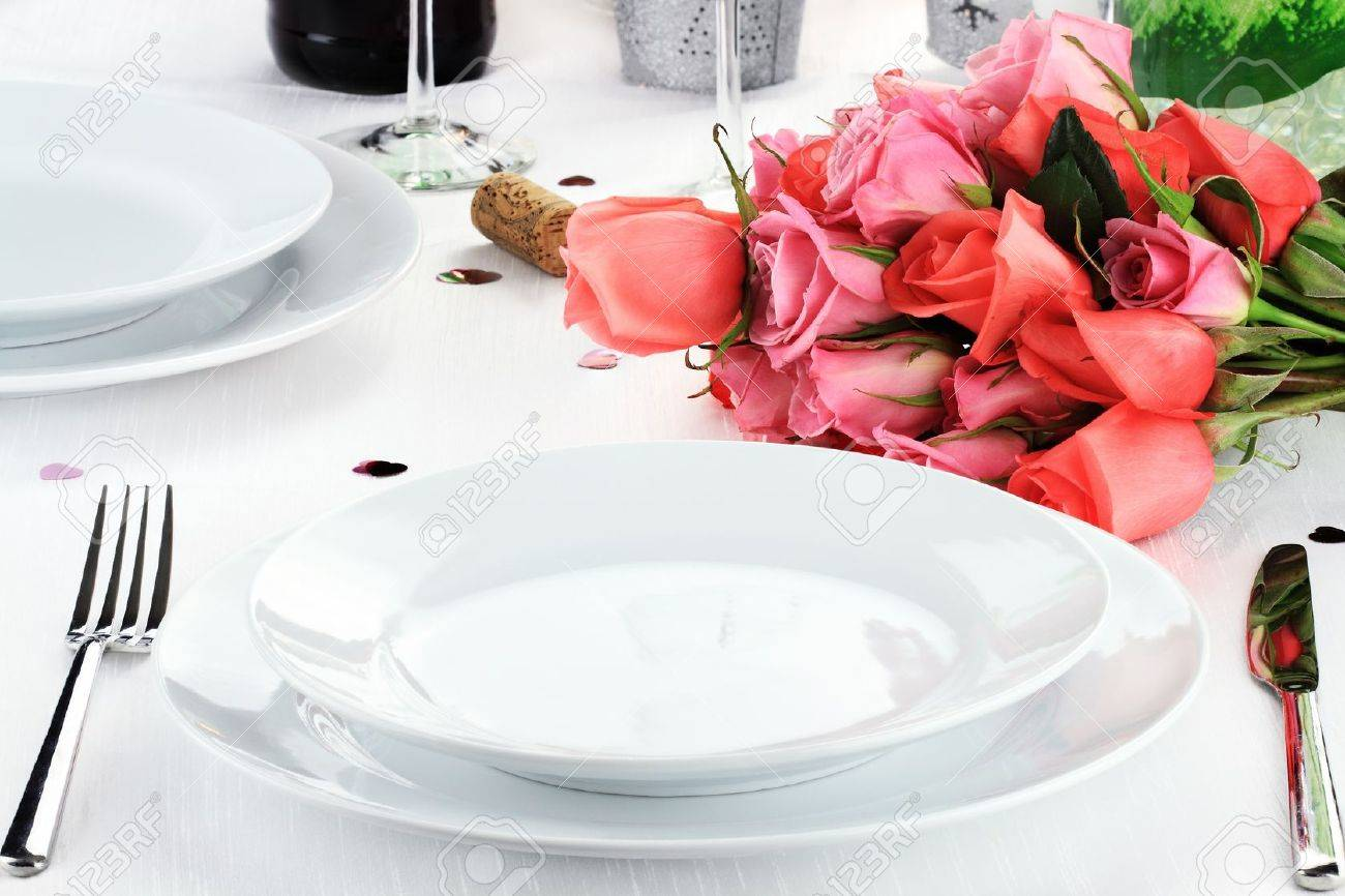 Romantic table setting for two with a bouquet of roses. Stock Photo - 12018240 & Romantic Table Setting For Two With A Bouquet Of Roses. Stock Photo ...
