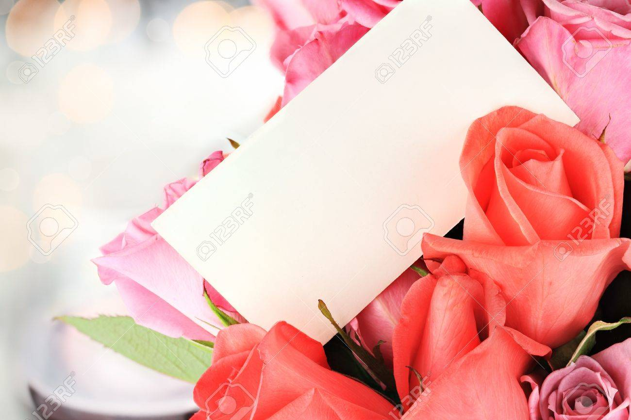 Blank card with a dozen roses. Shallow depth of field with copy space. Stock Photo - 12018239