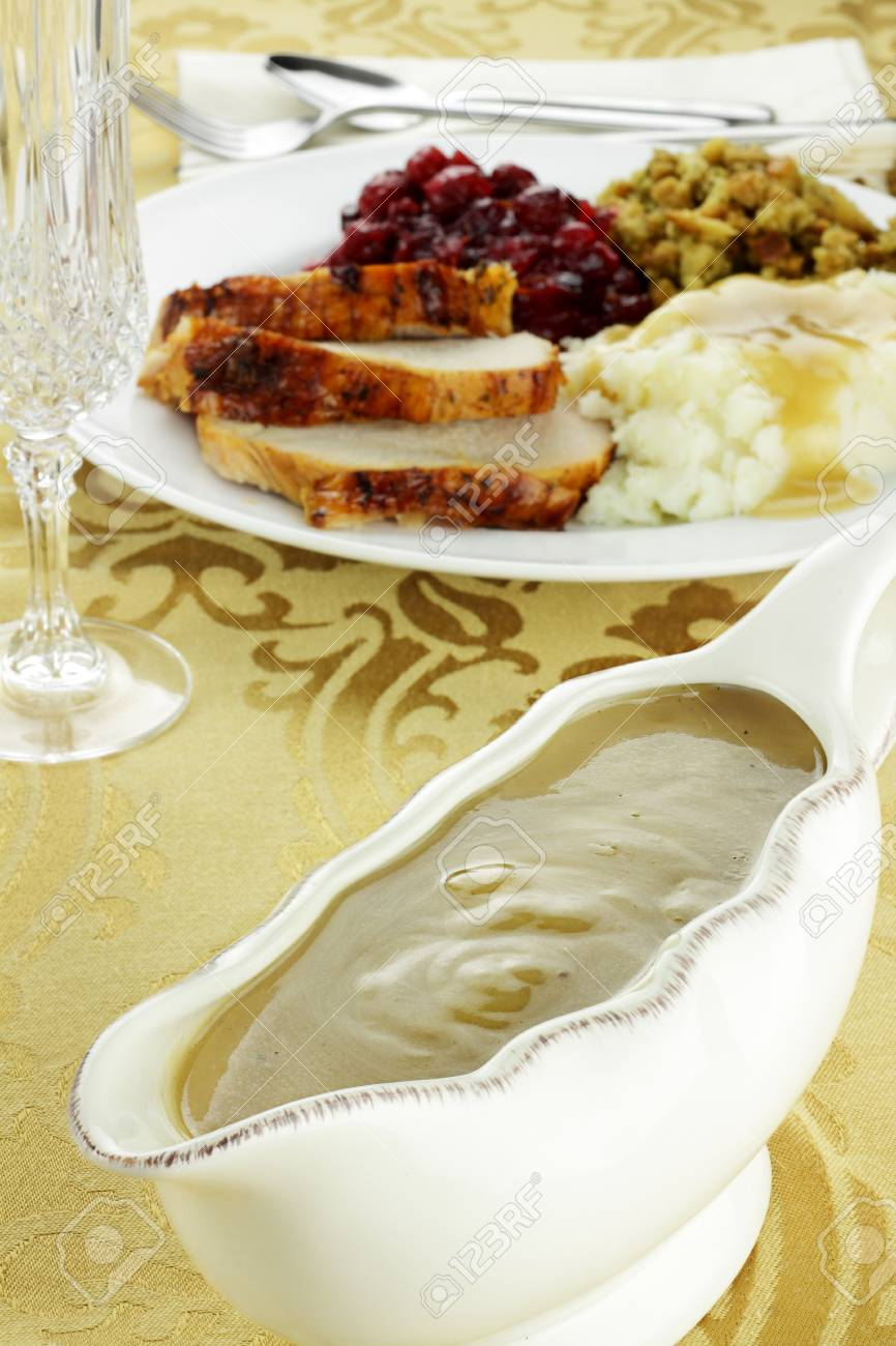 Gravy boat full of turkey gravy. Stock Photo - 16218671