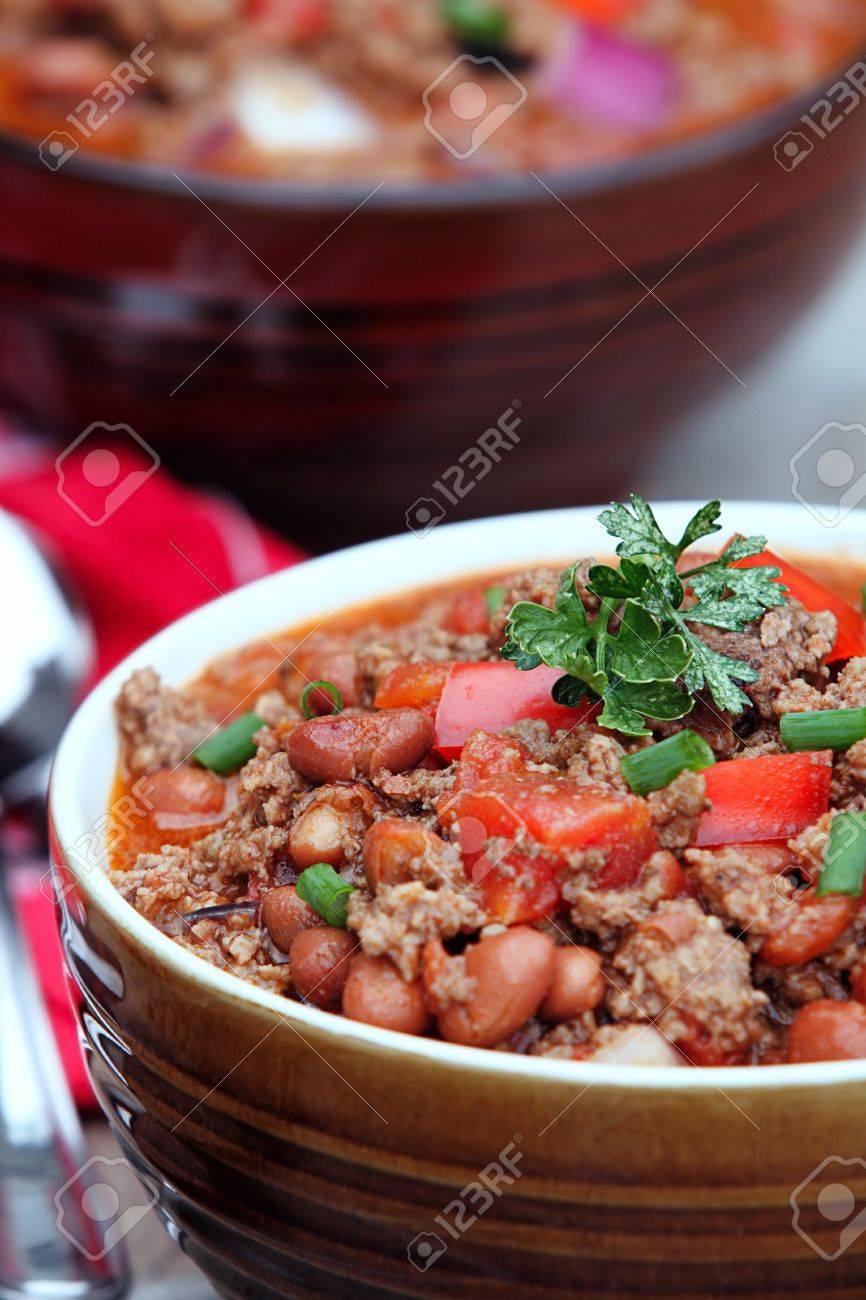 Chili Con Carne Mit Garnieren Extreme Geringe Scharfentiefe Mit